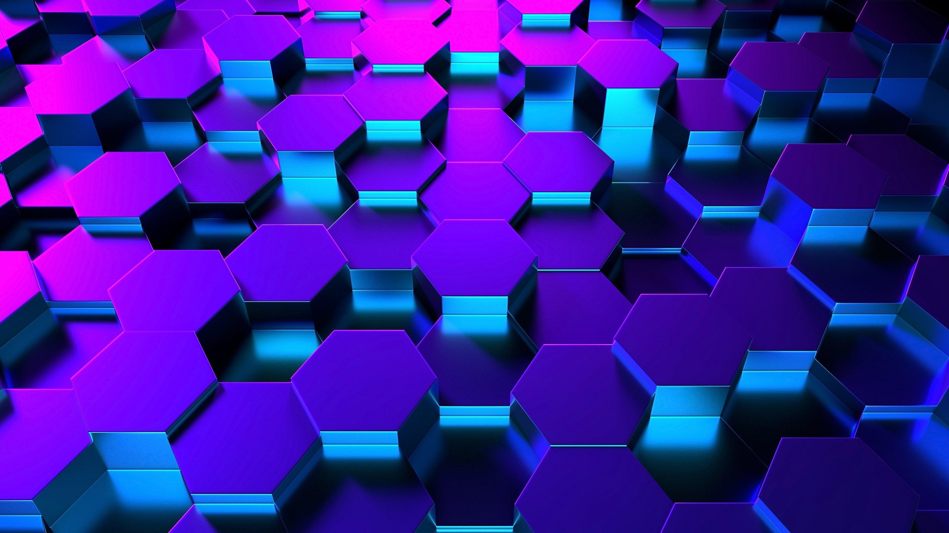 Fondos de pantalla Hexágonos 3D en perspectiva iluminación neón