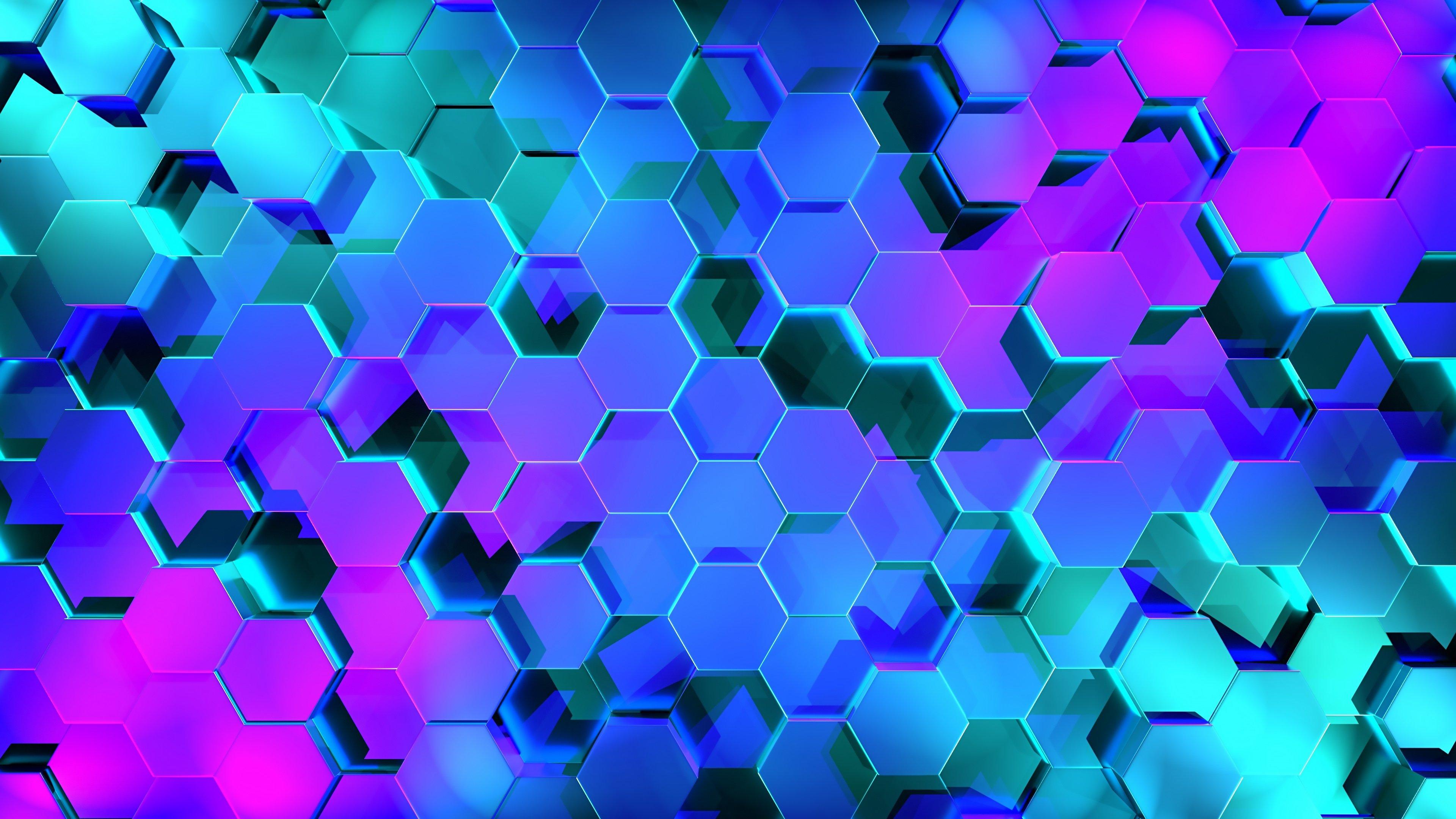 Fondos de pantalla Hexágonos 3D iluminación neón