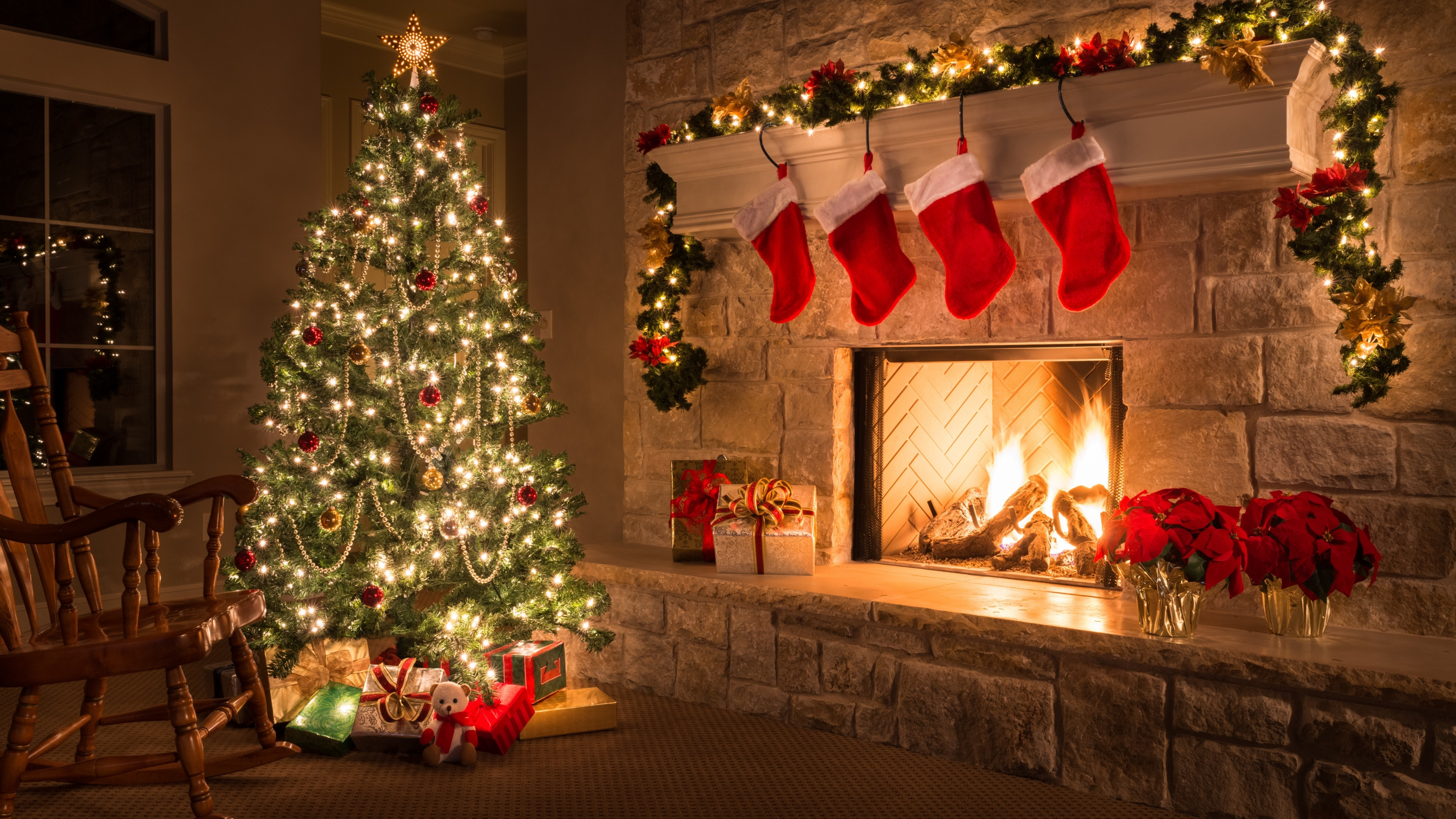 Fondos de pantalla Hogar con decorado navideño