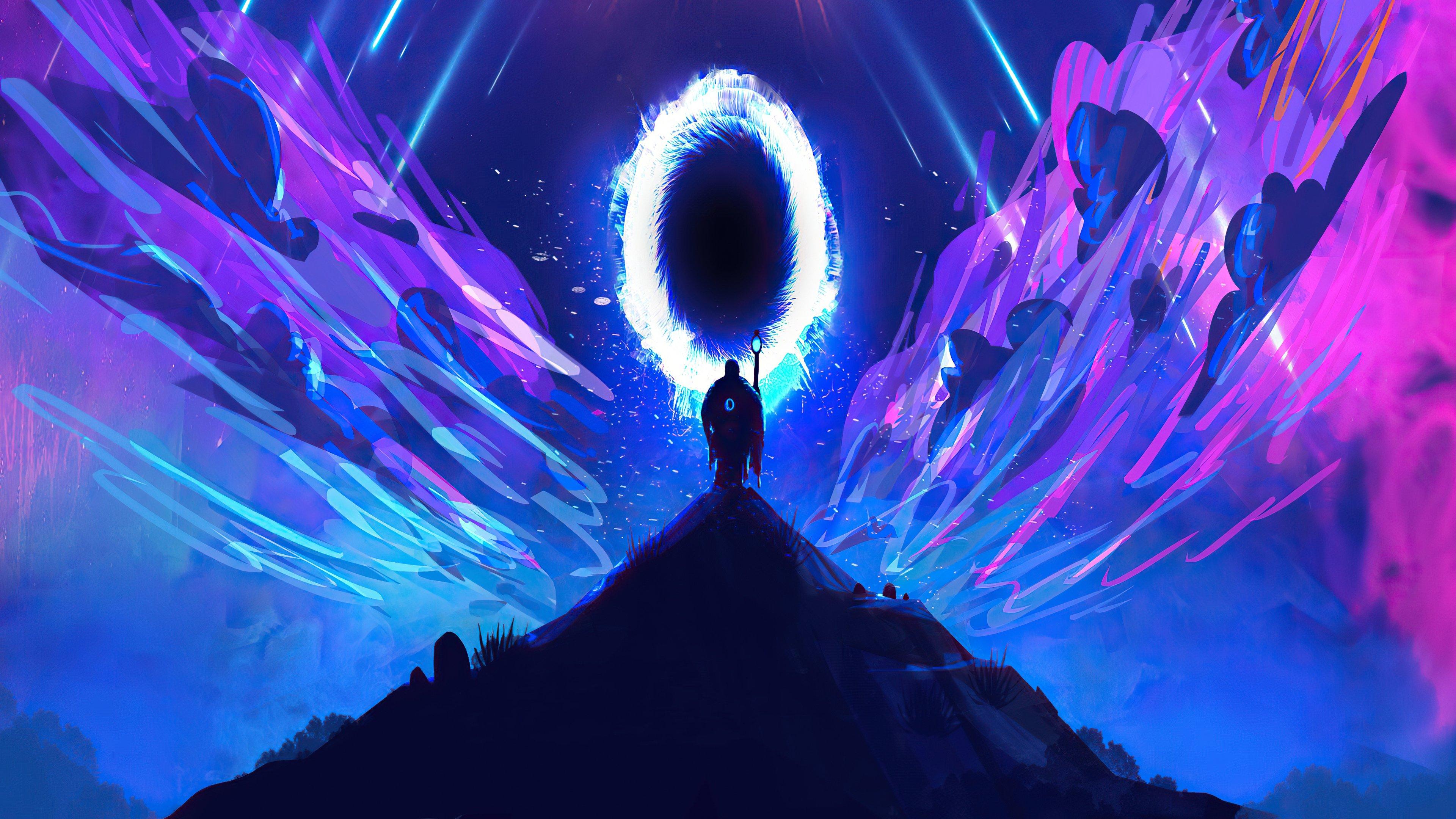 Fondos de pantalla Hombre caminando hacia un portal Ilustración