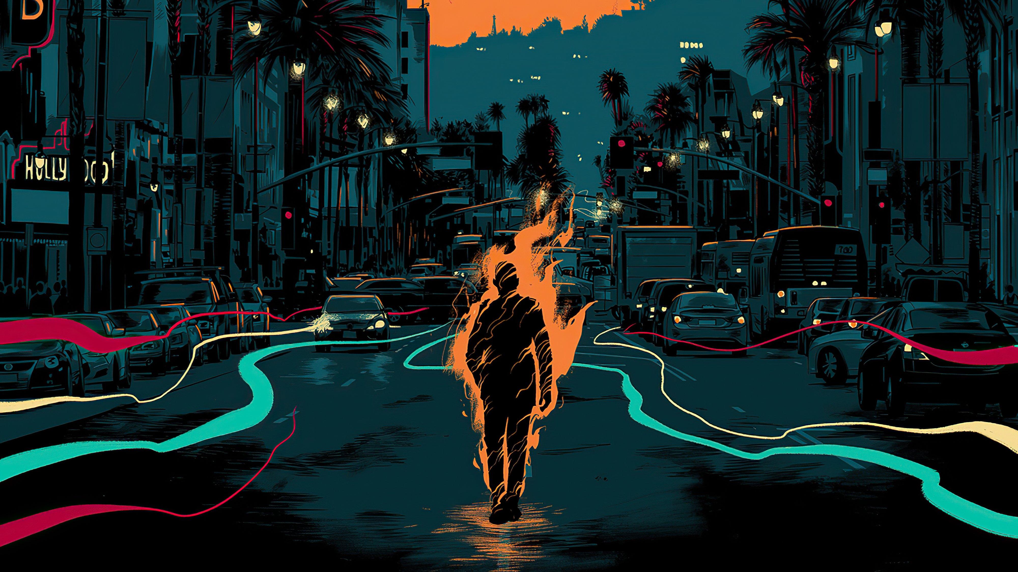 Fondos de pantalla Hombre en fuego Artwork