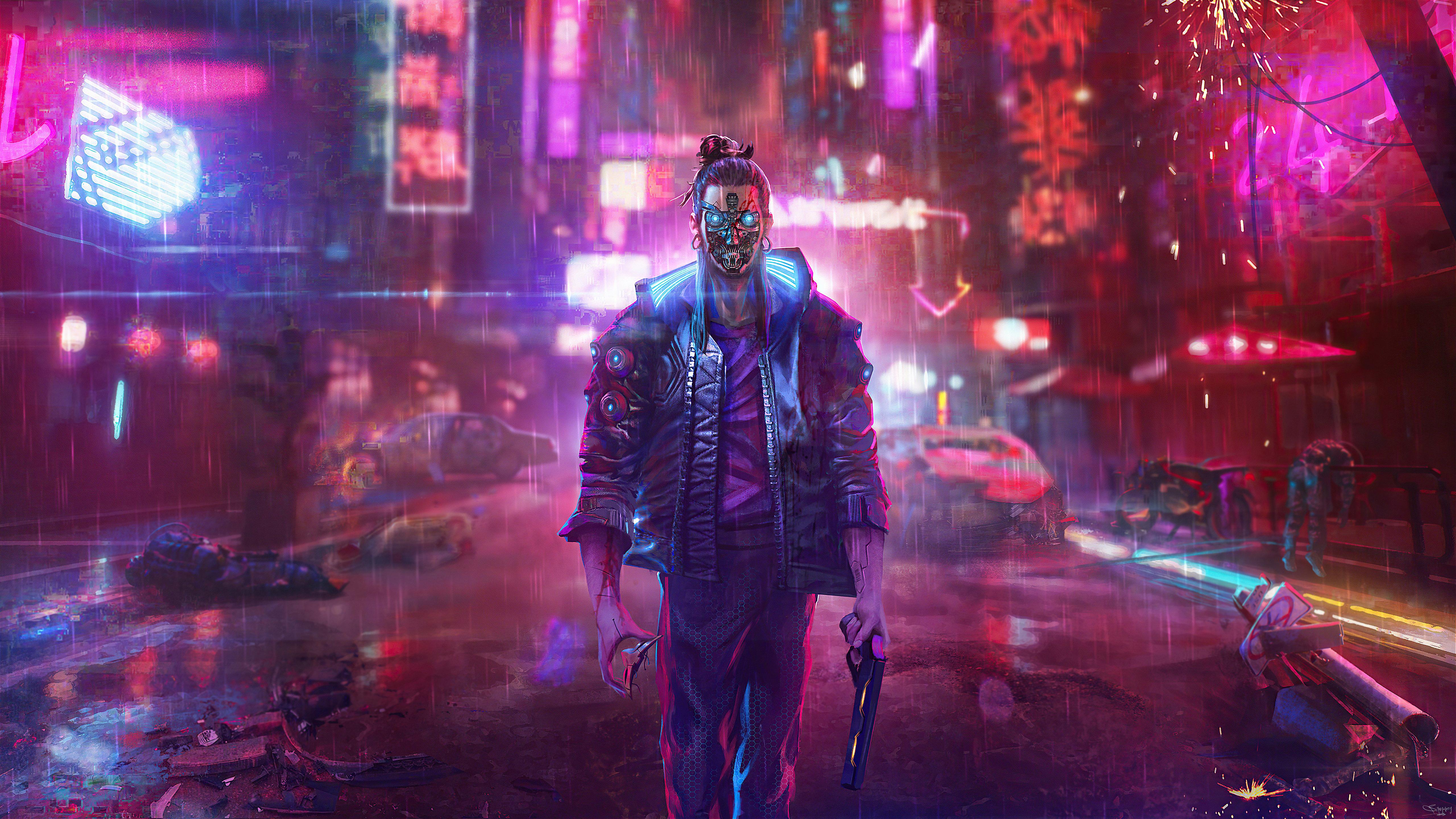 Wallpaper Man in the city Cyberpunk 2077