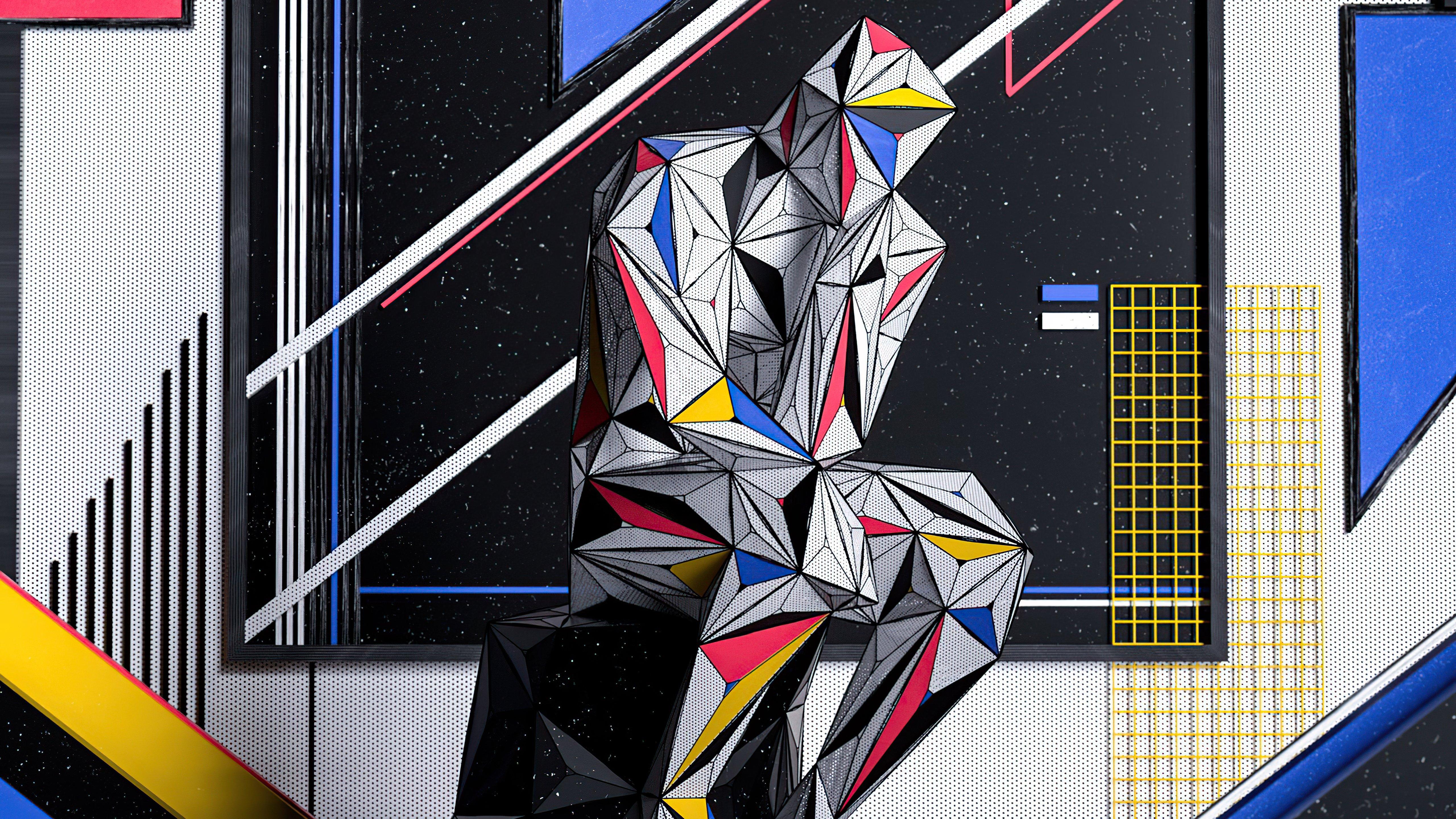 Wallpaper Man thinking as Piet Mondrian painting