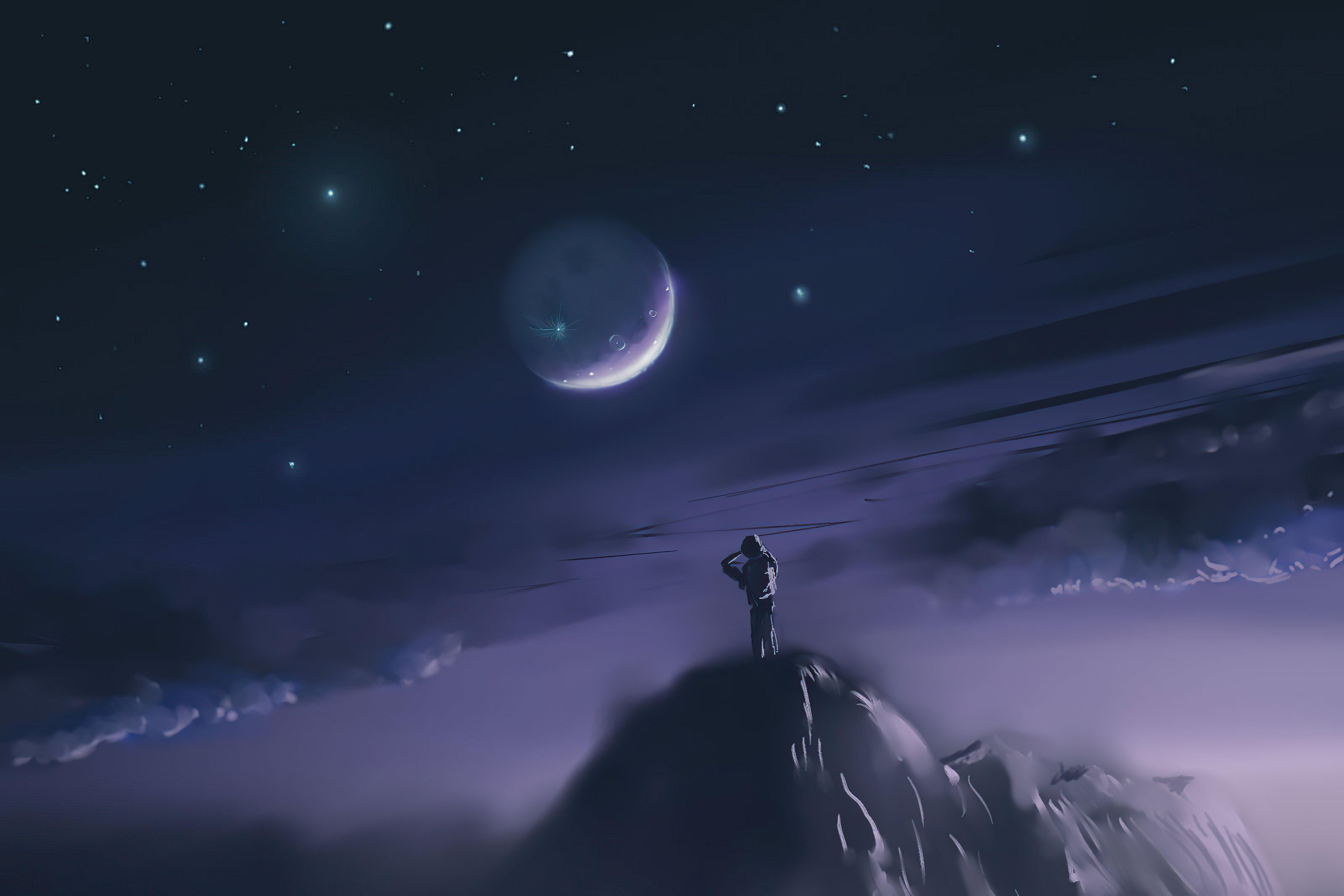 Fondos de pantalla Hombre sobre montaña mirando a la luna Arte Digital