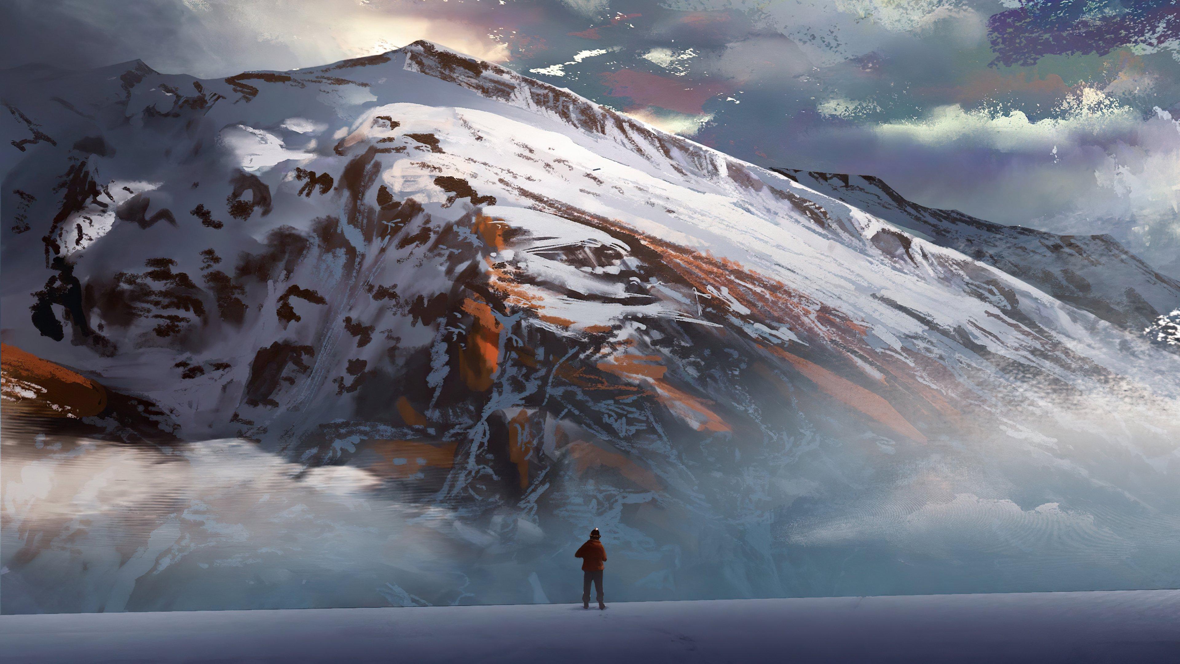 Fondos de pantalla Hombre viendo las montañas