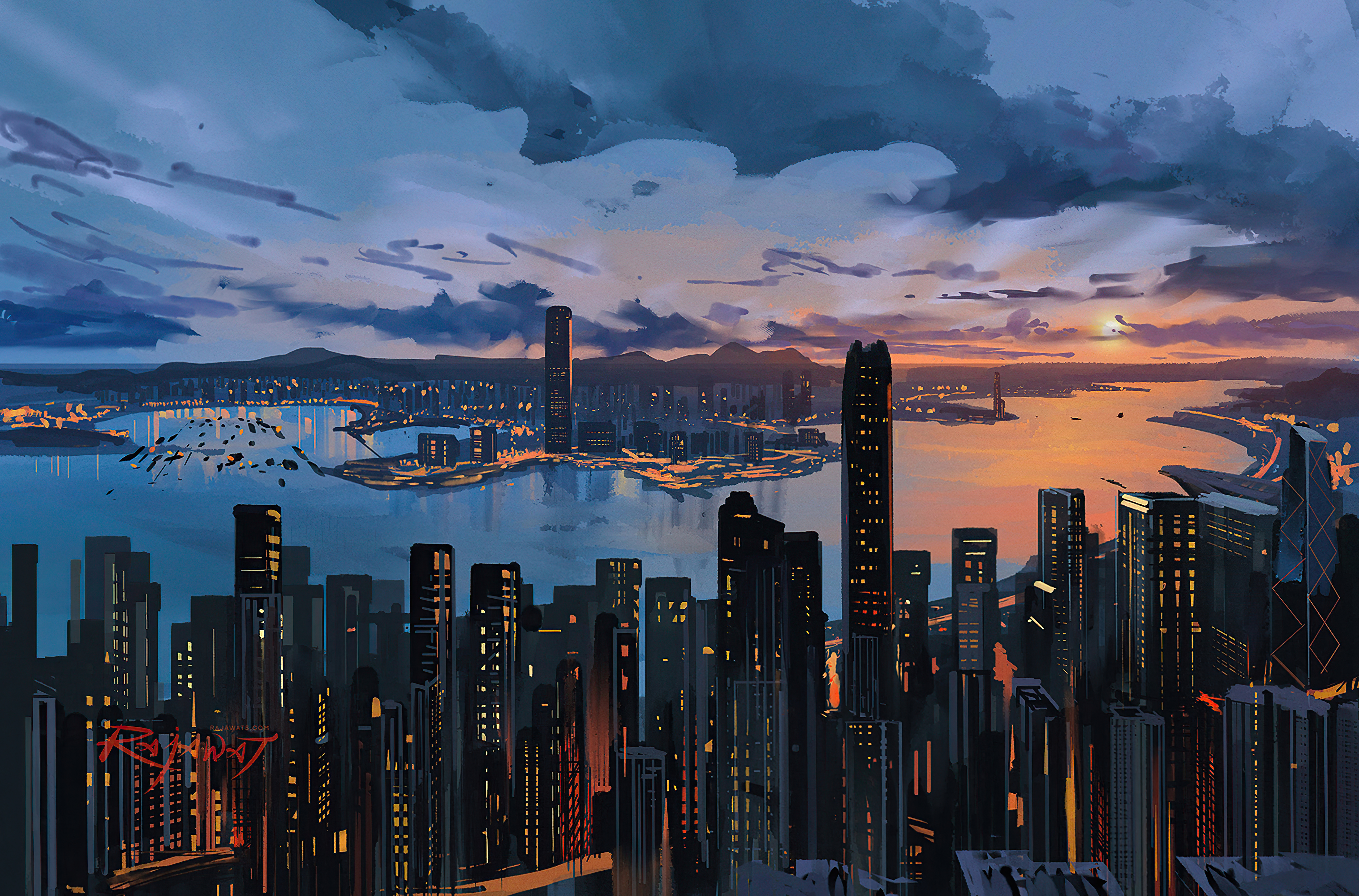 Fondos de pantalla Hong Kong Ciudad Arte Digital