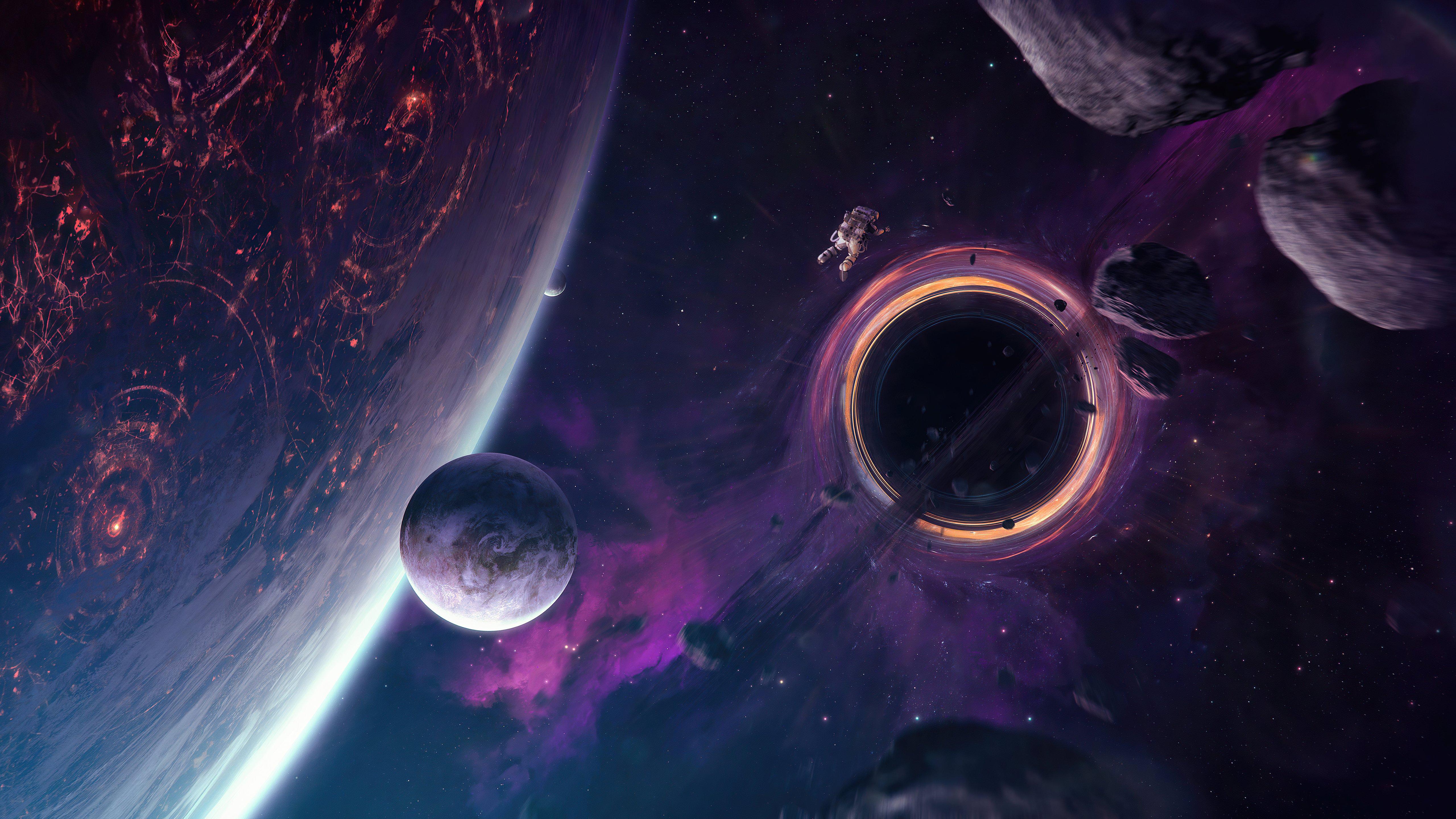 Fondos de pantalla Hoyo negro alrededor de asteroides y planetas