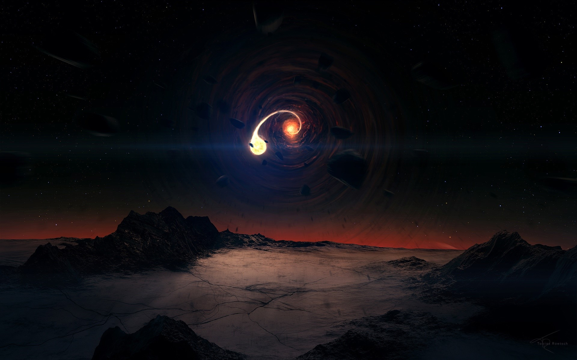 Wallpaper Black hole and mountains