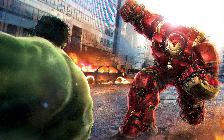 Wallpaper Hulk against Hulkbuster