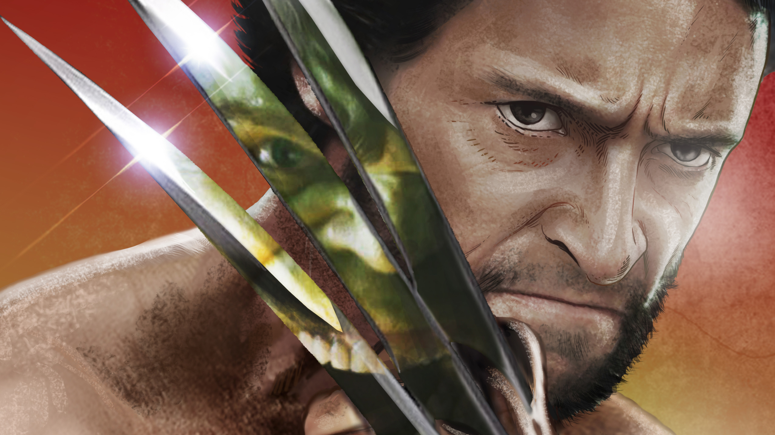 Fondos de pantalla Hulk reflejado en garras de Wolverine