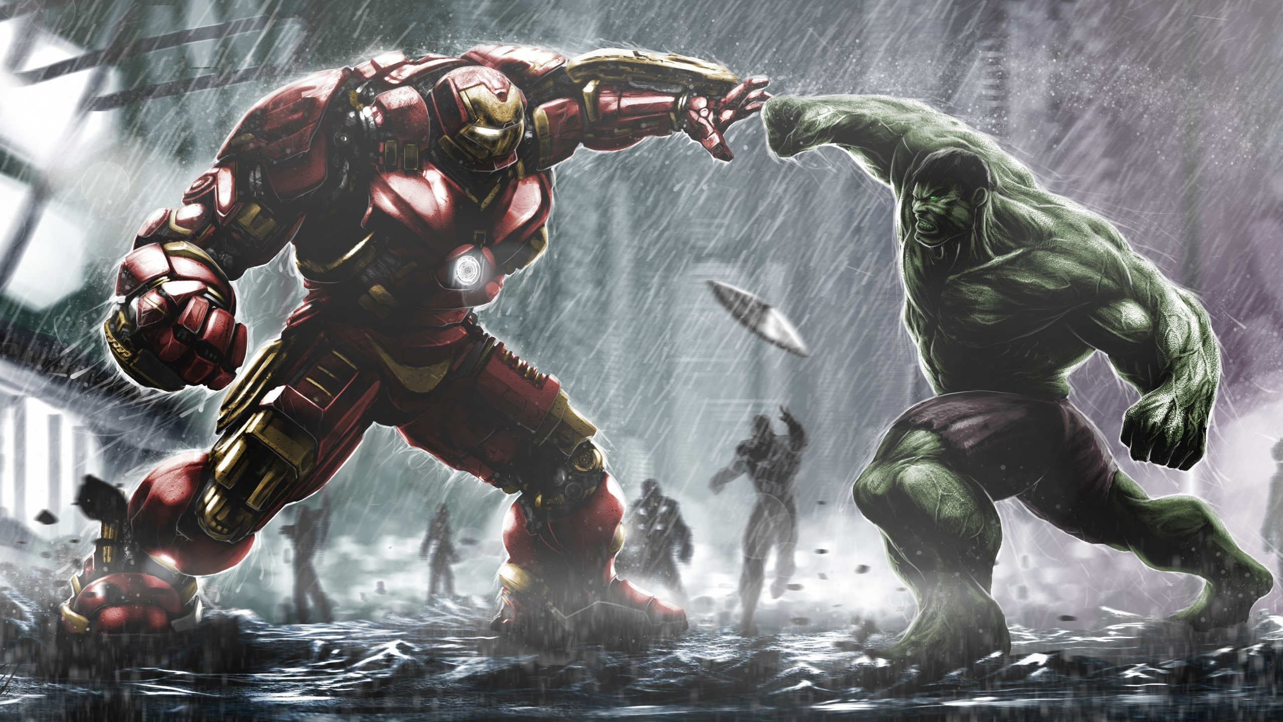 Wallpaper Hulkbuster Ironman vs. Hulk