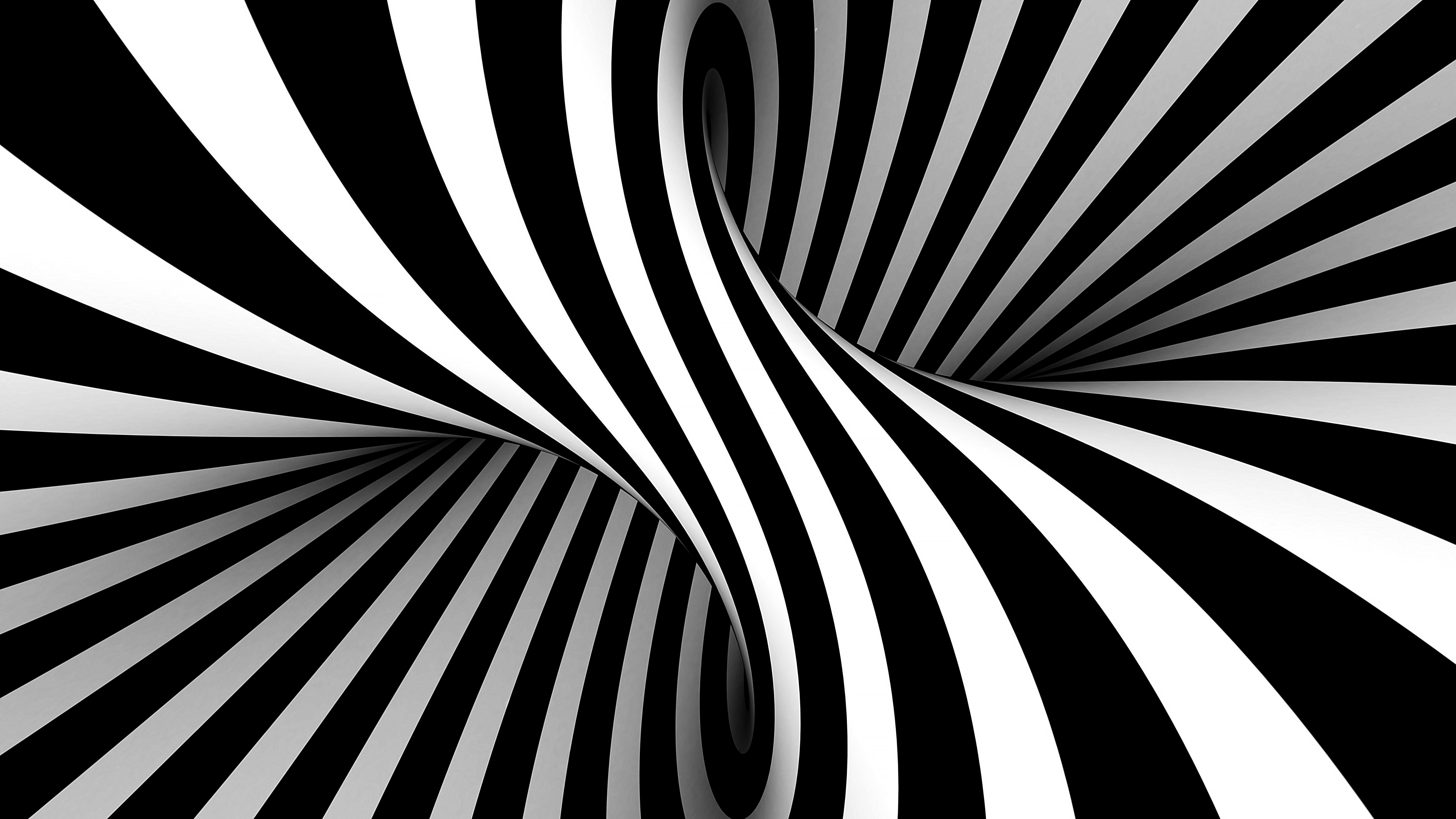 Fondos de pantalla Ilusión óptica 3D en blanco y negro estilo Vasarely