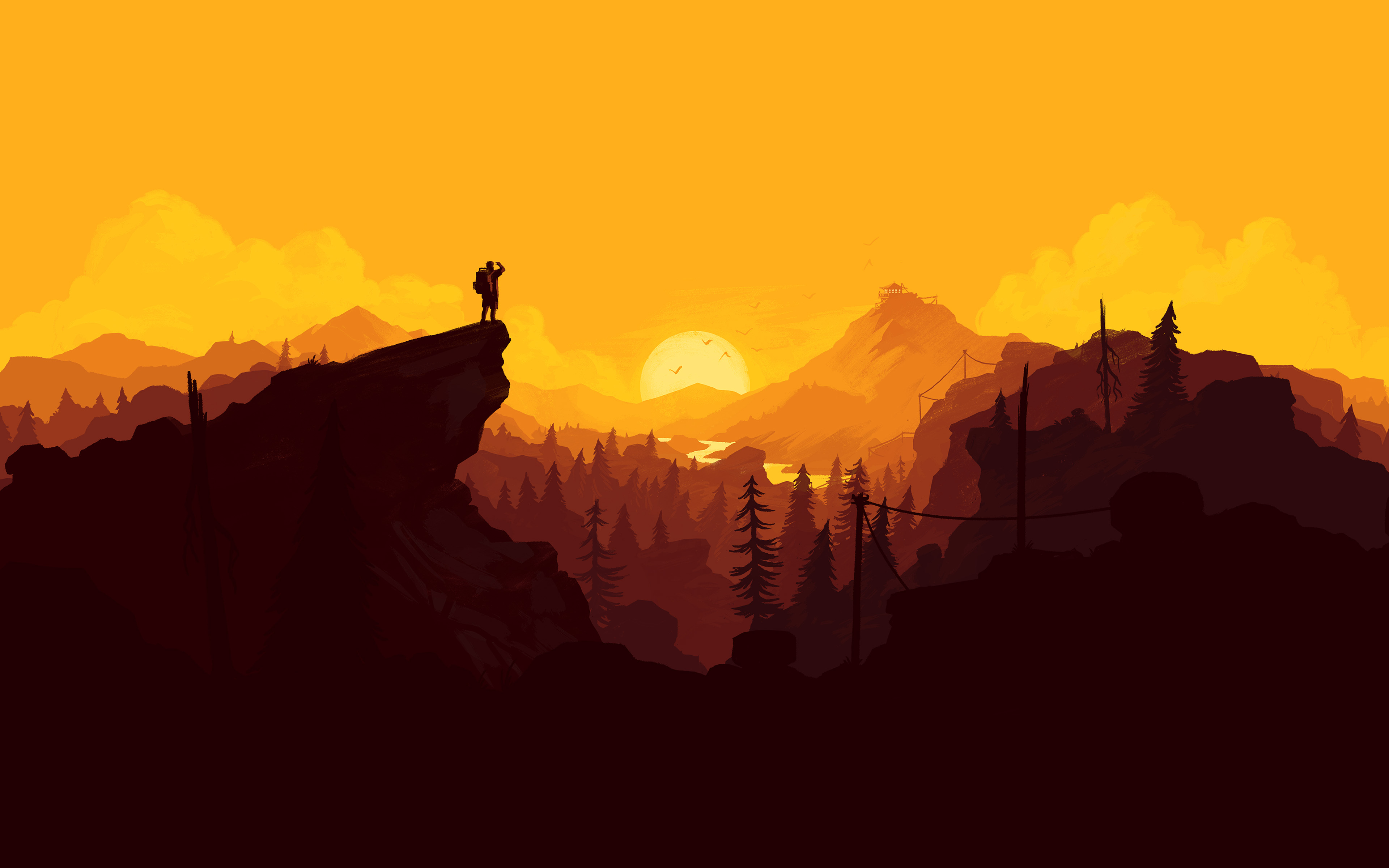 Fondos de pantalla Ilustración Atardecer en el bosque