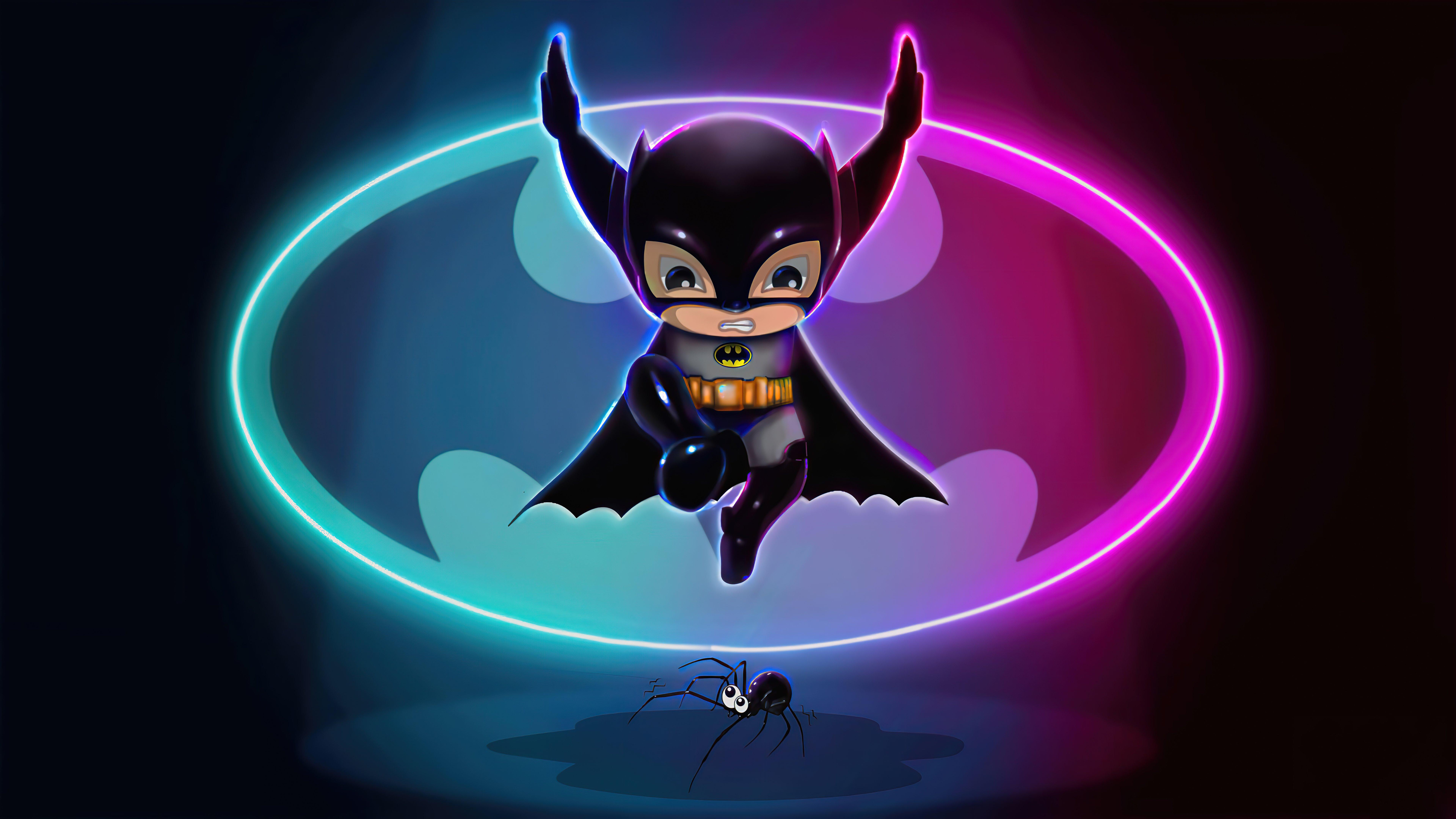 Wallpaper Batman illustration with neon lights