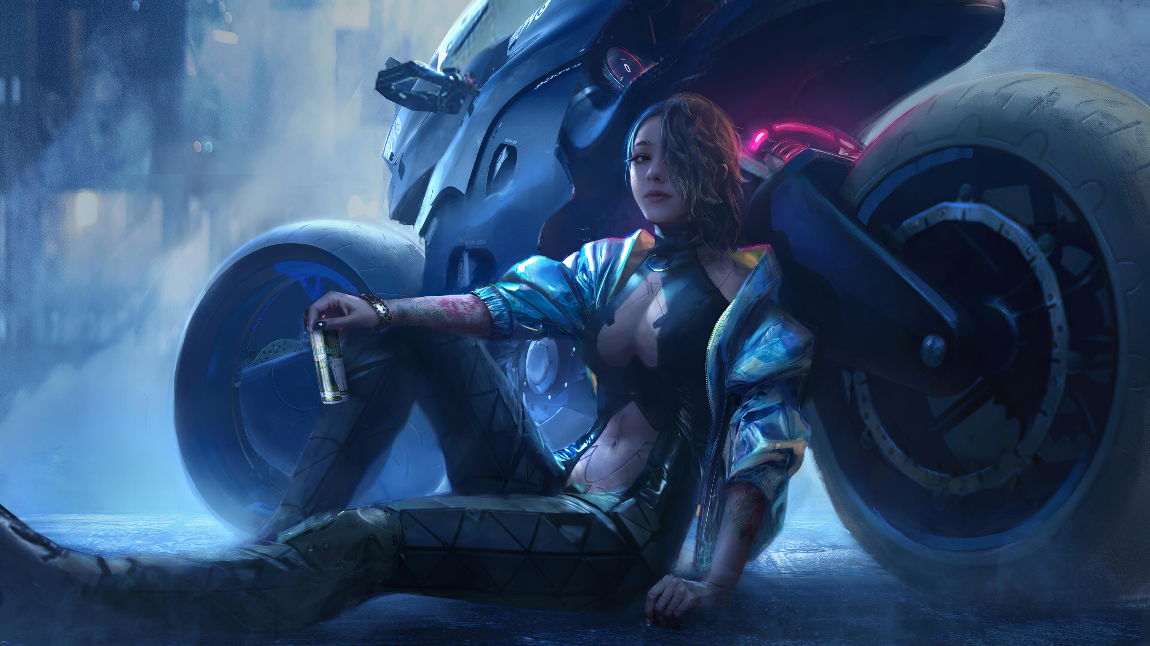 Fondos de pantalla Ilustración de chica con motocicleta