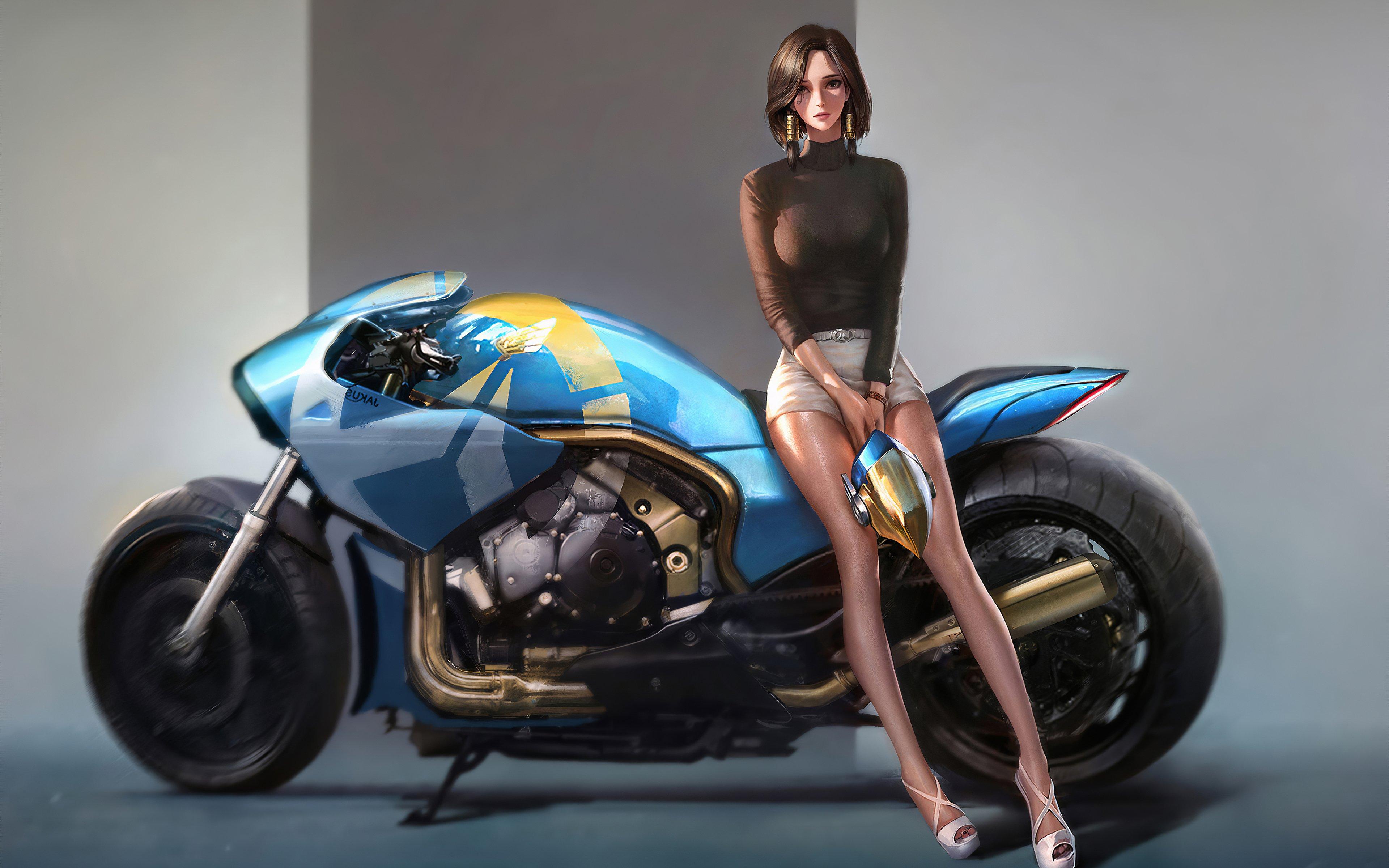Fondos de pantalla Ilustración de chica en motocicleta