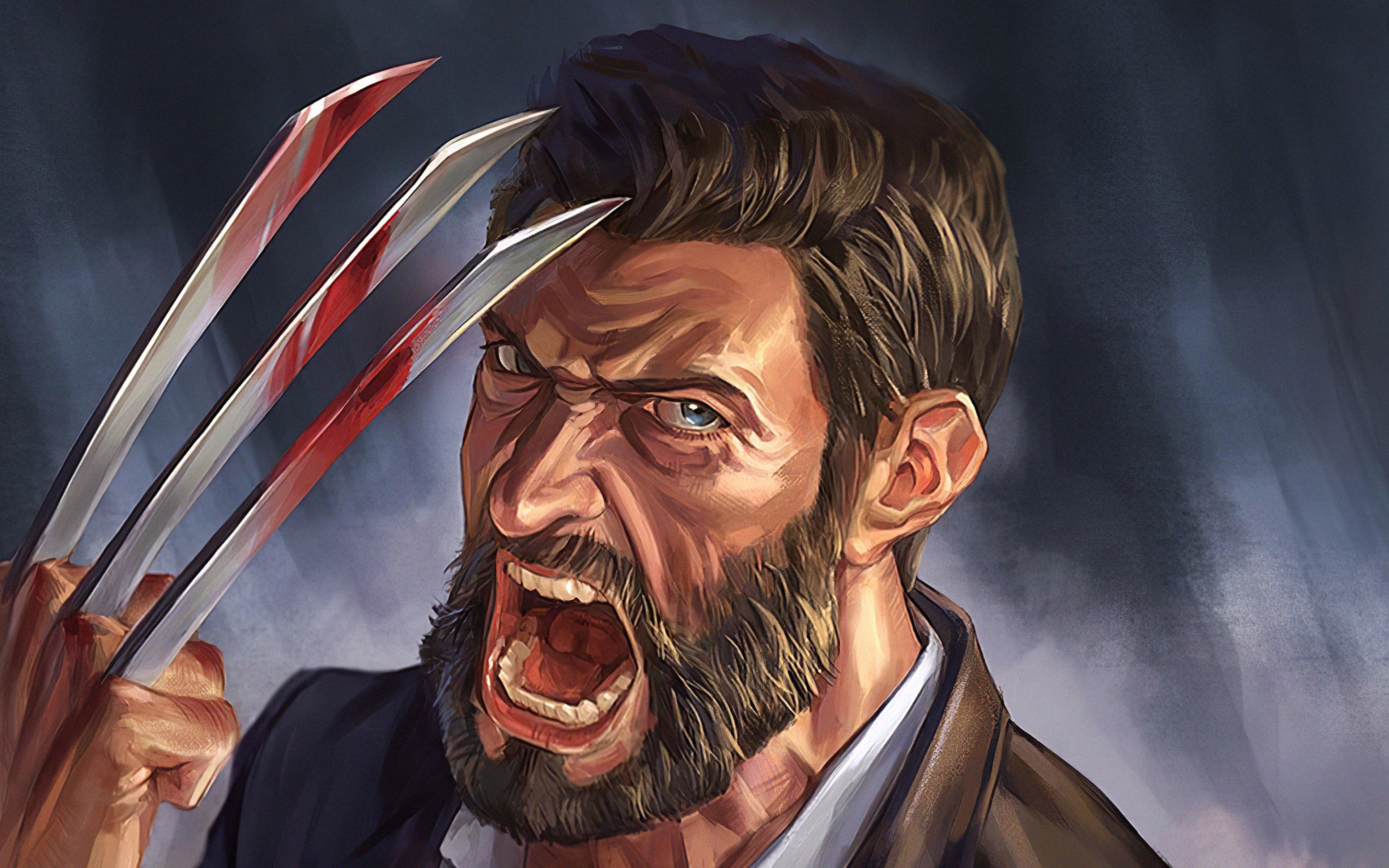 Wallpaper Hugh Jackman as Wolverine Illustration