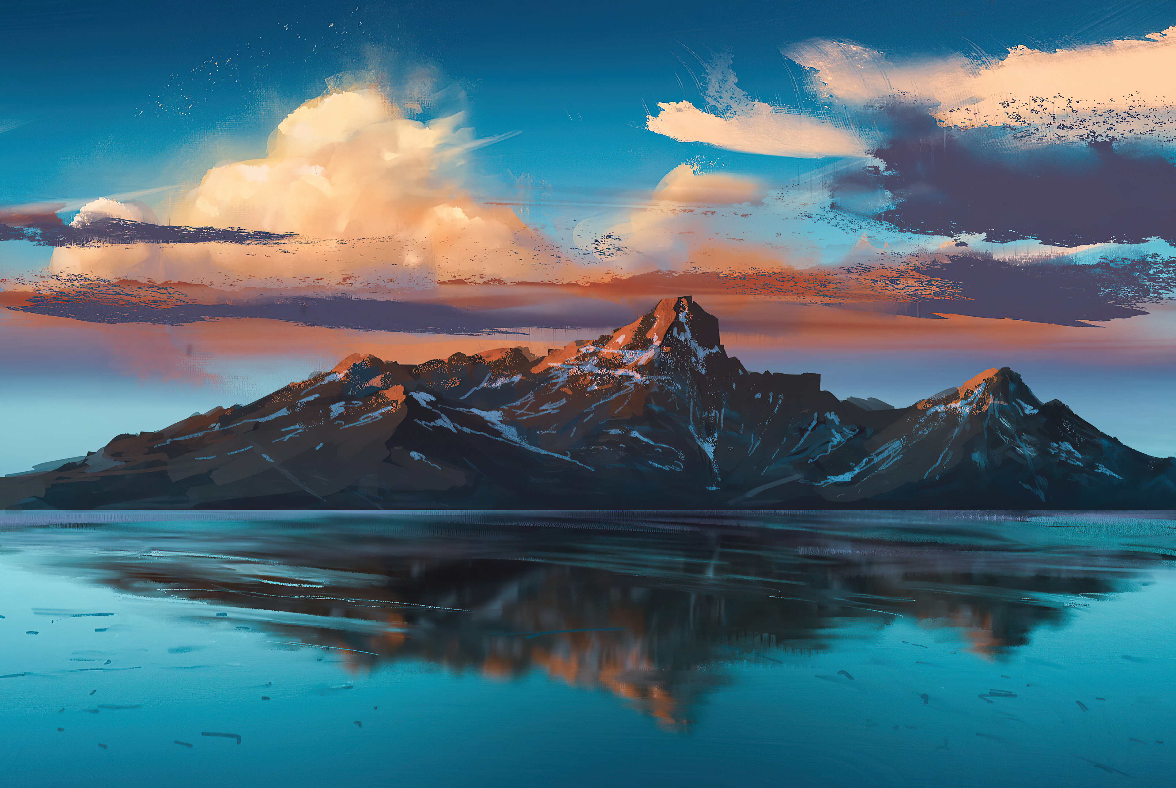 Fondos de pantalla Ilustración de Montaña en lago al amanecer