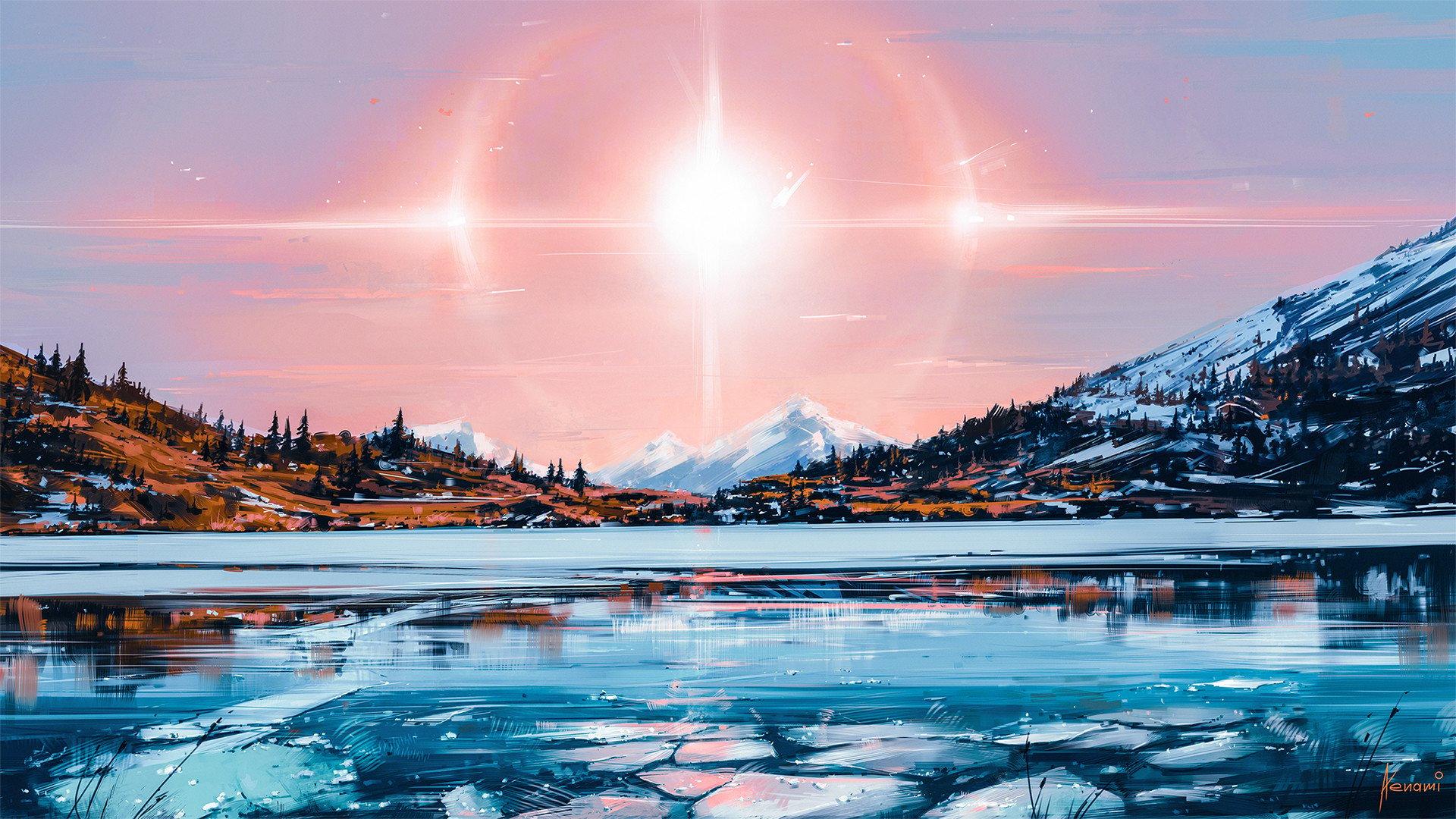 Fondos de pantalla Ilustración de paisaje en lago con hielo