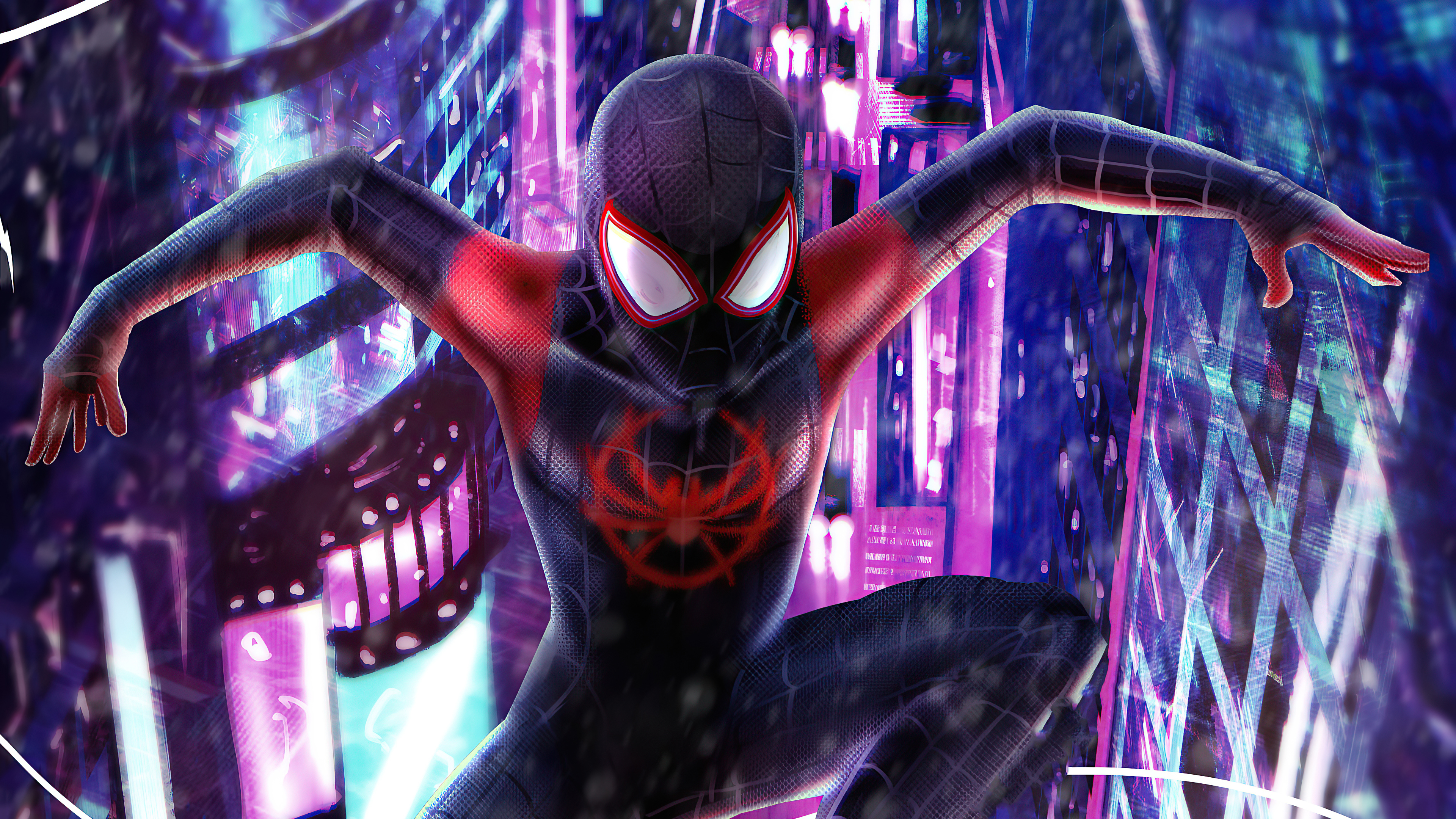 Wallpaper Spiderman in the city Ilustration