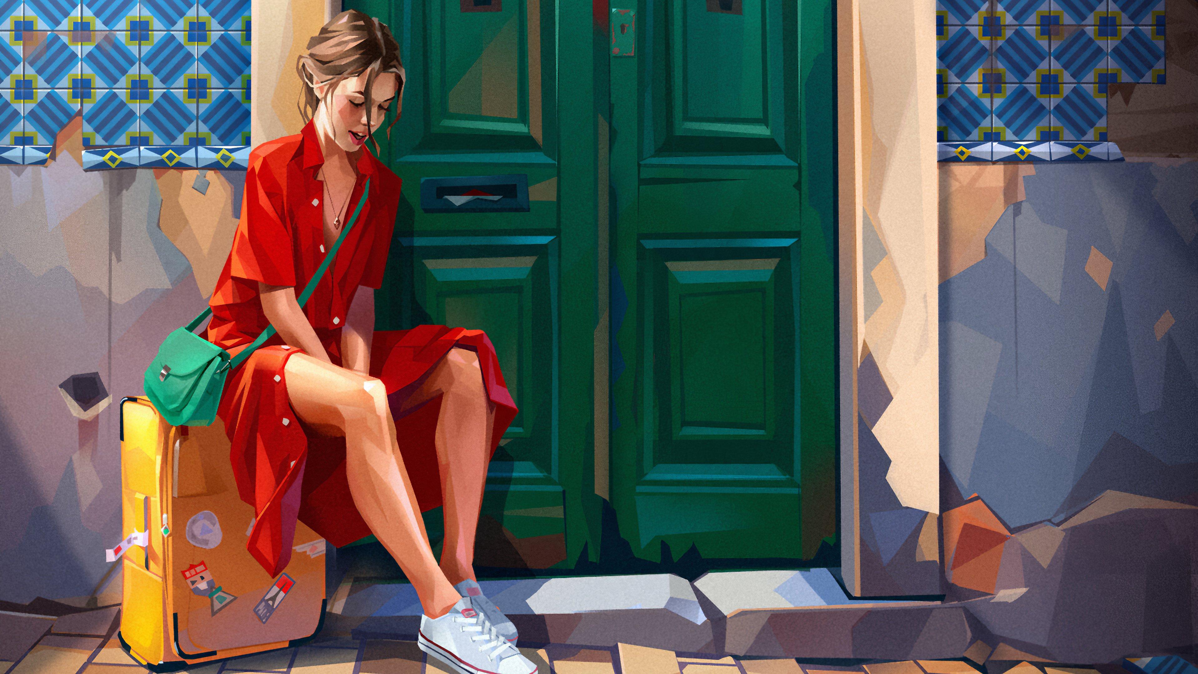 Fondos de pantalla Ilustración de una chica en vestido rojo