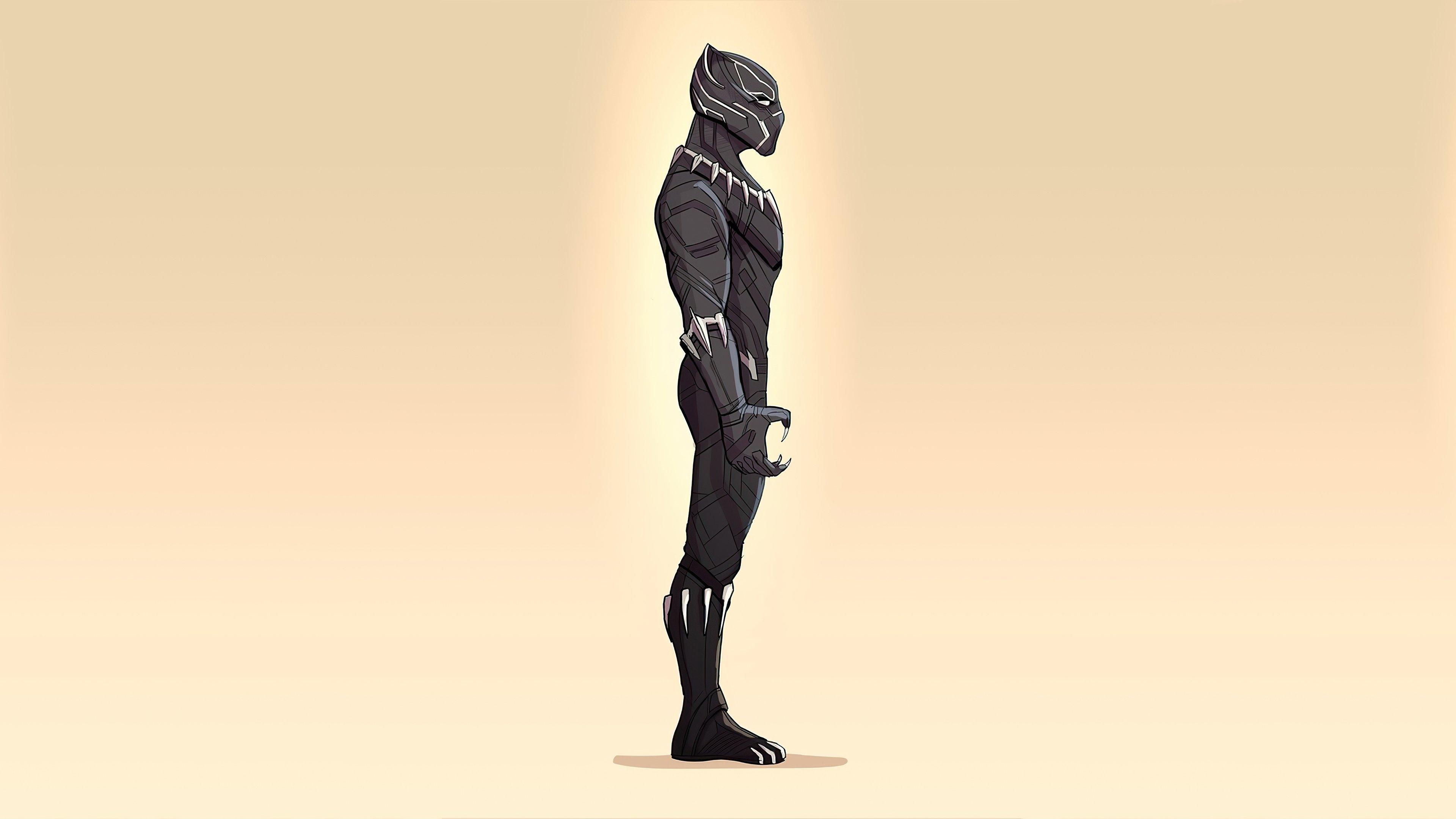 Wallpaper Minimalist Illustration of Black Panther