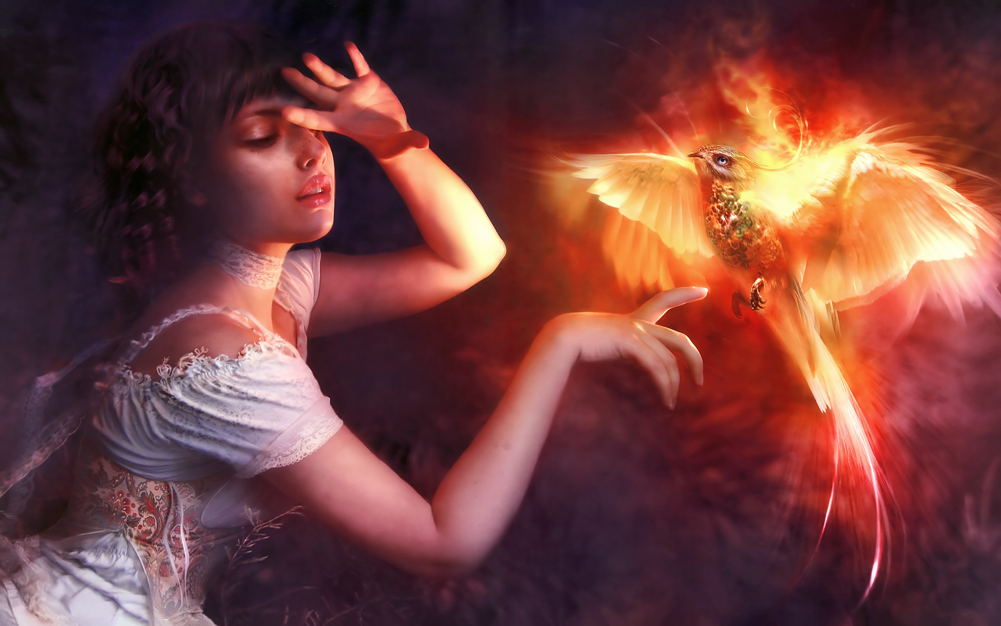 Wallpaper Woman with phoenix Illustration