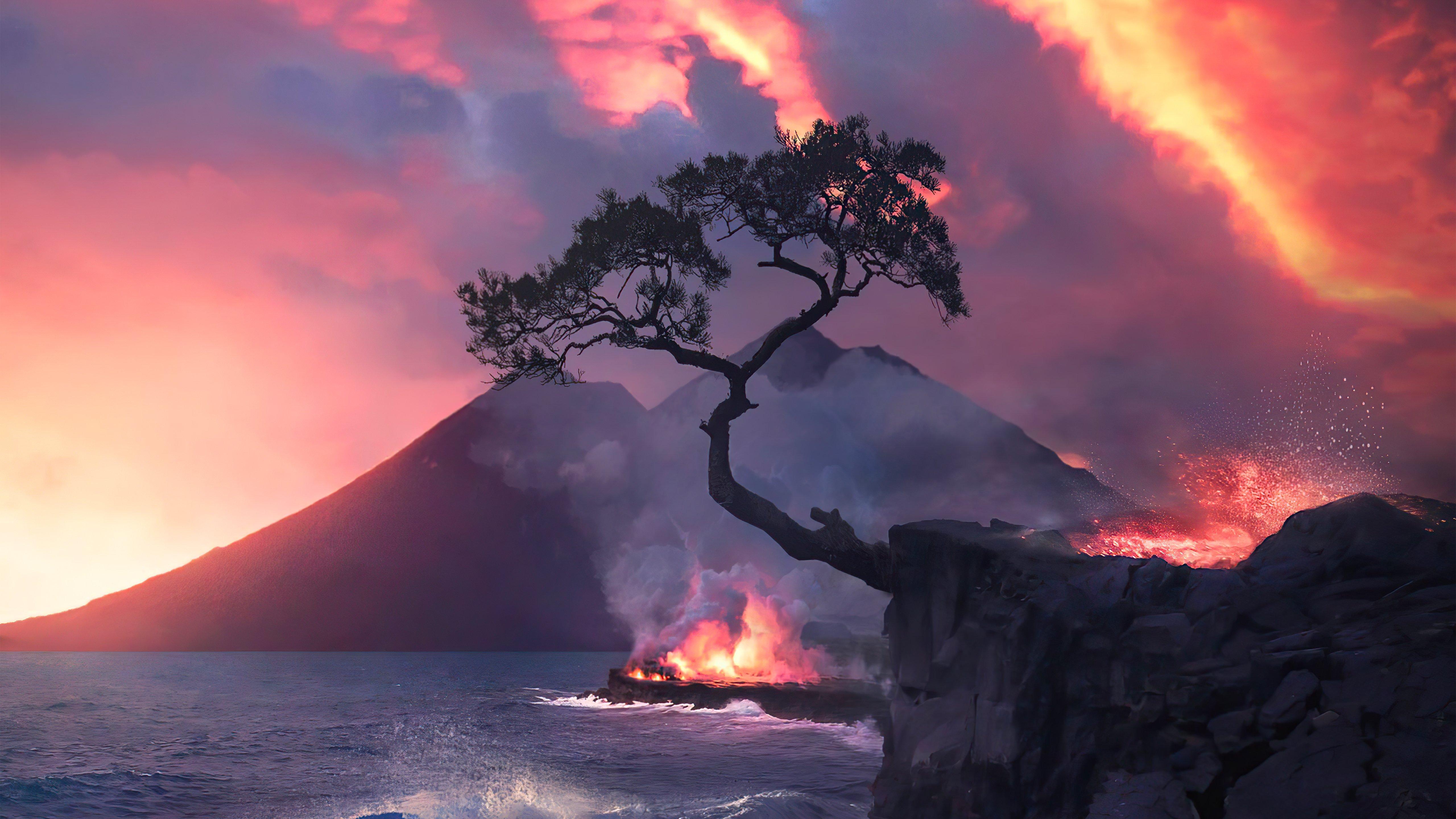 Fondos de pantalla Incendio en bosque junto al mar