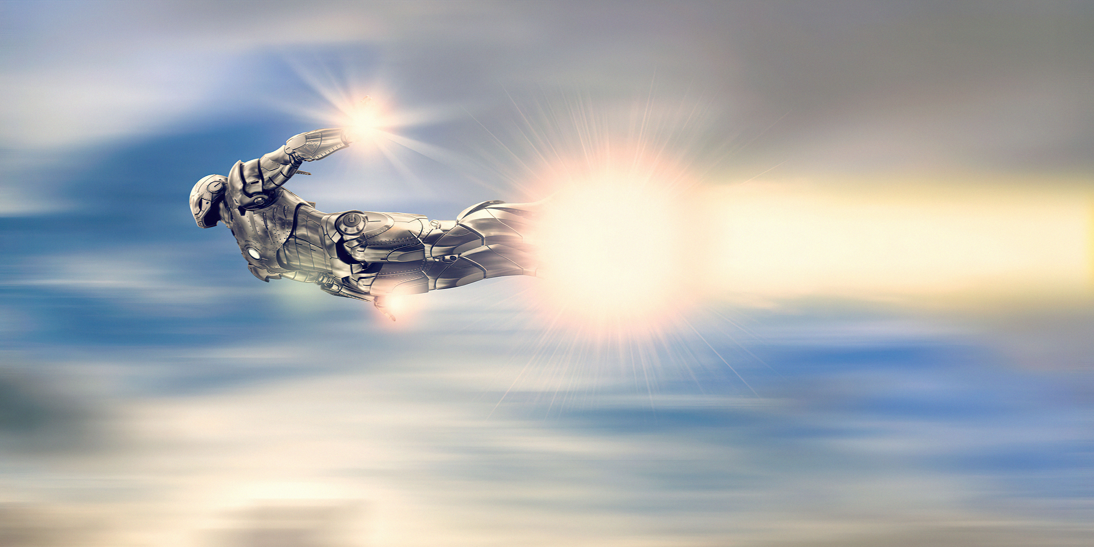 Wallpaper Iron man silver suit flying