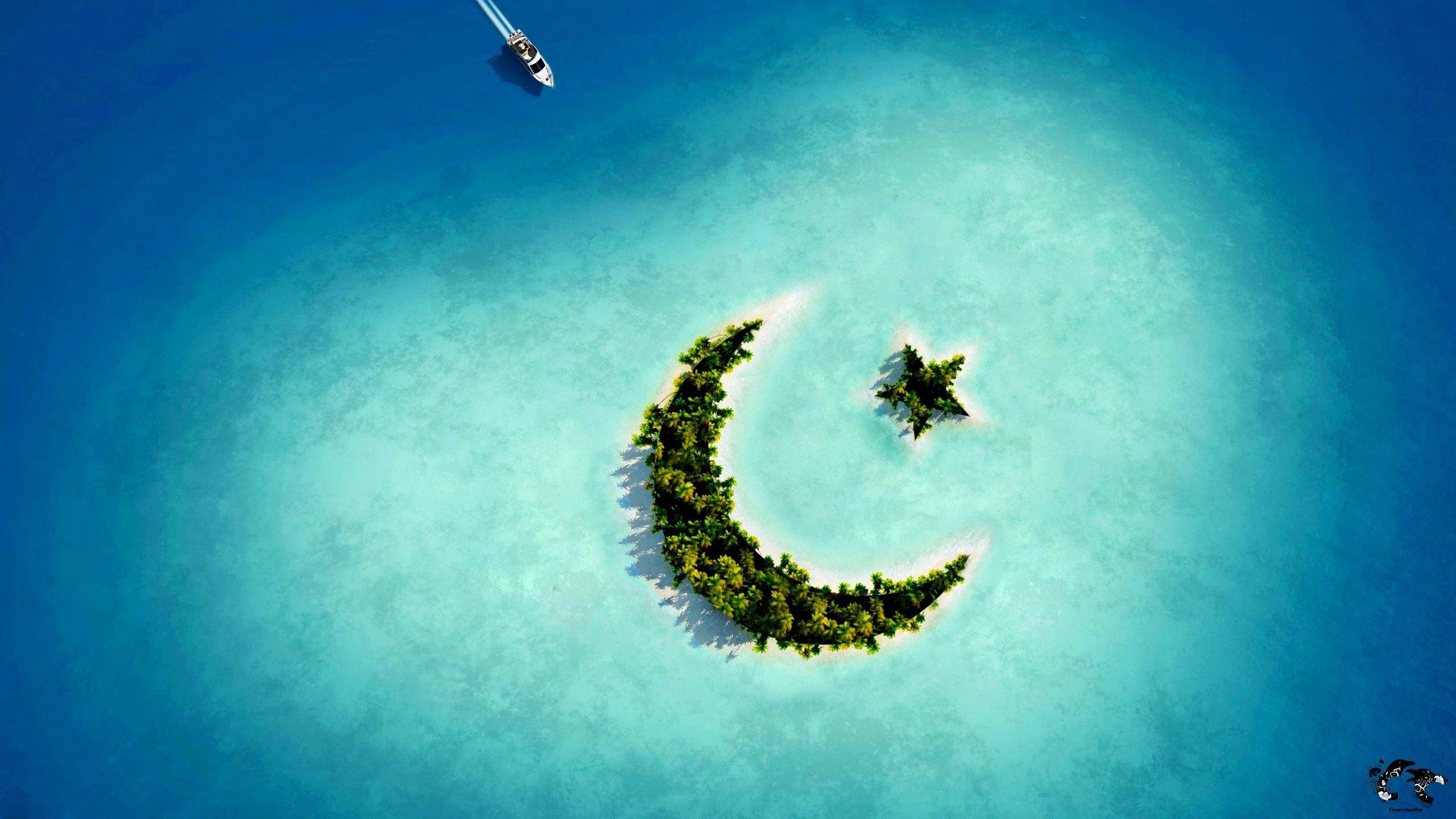 Fondos de pantalla Islas con forma de luna y estrella