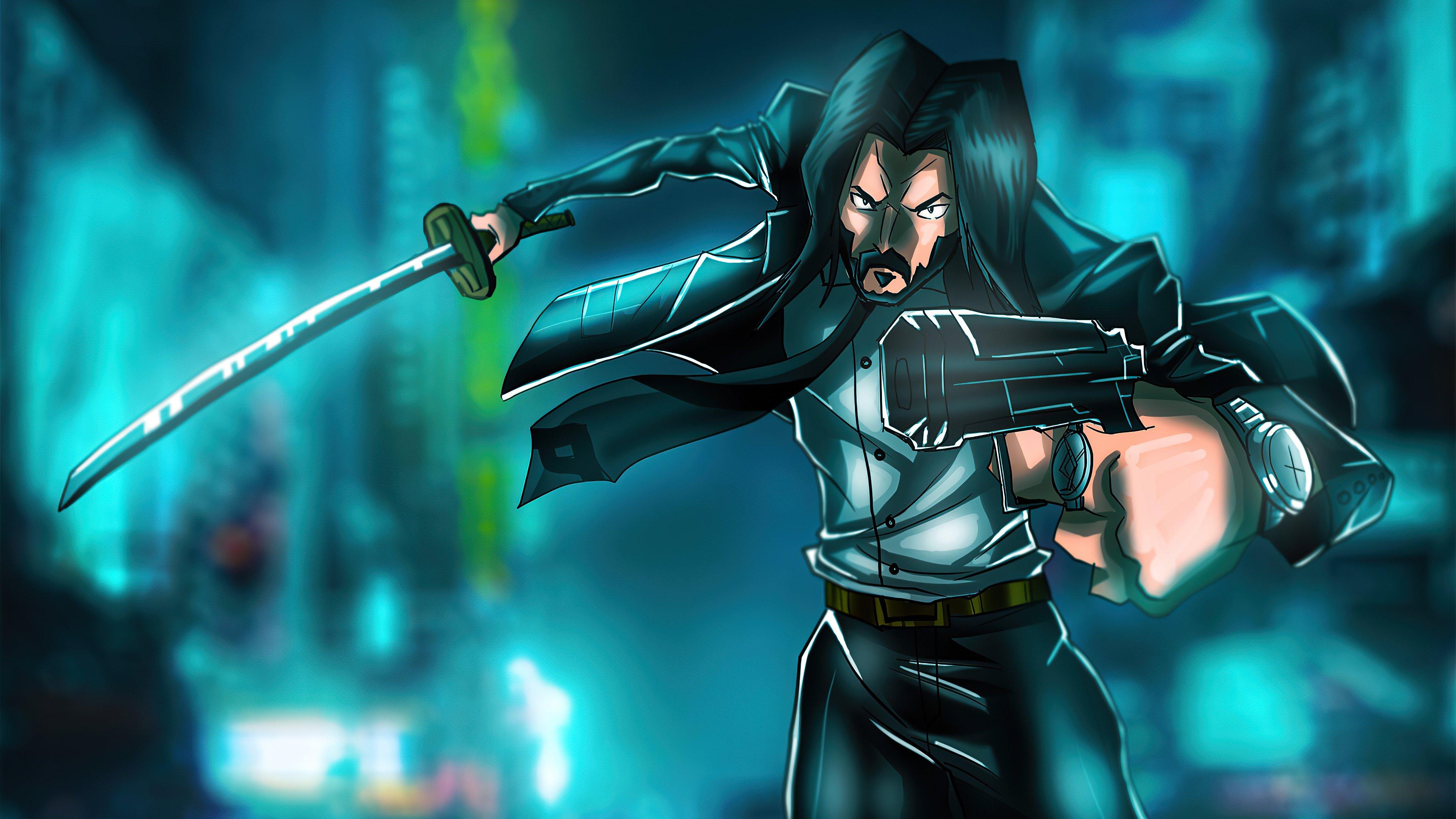 Fondos de pantalla John Wick con espada y arma