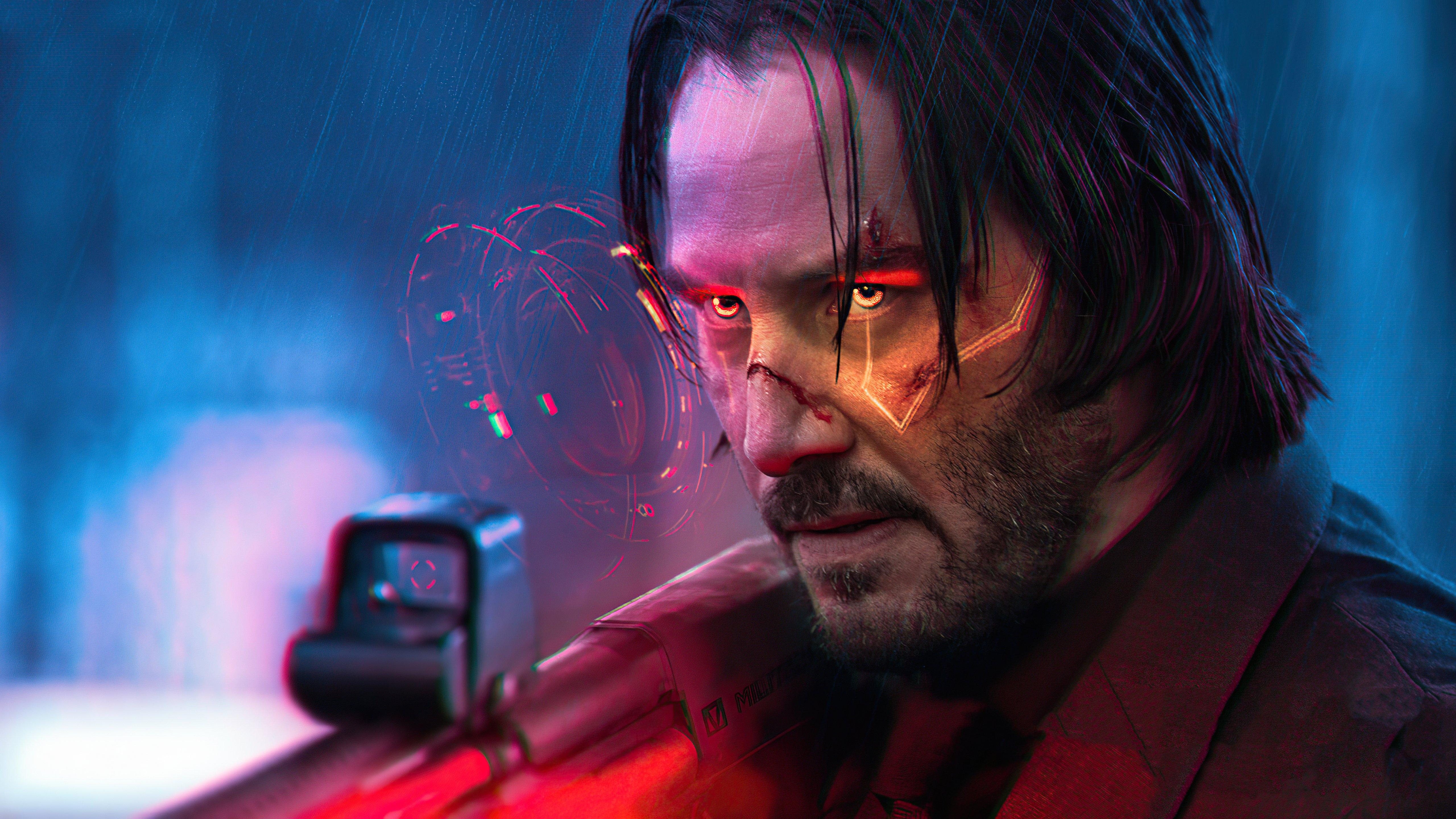 Wallpaper John Wick Cyberpunk 2077