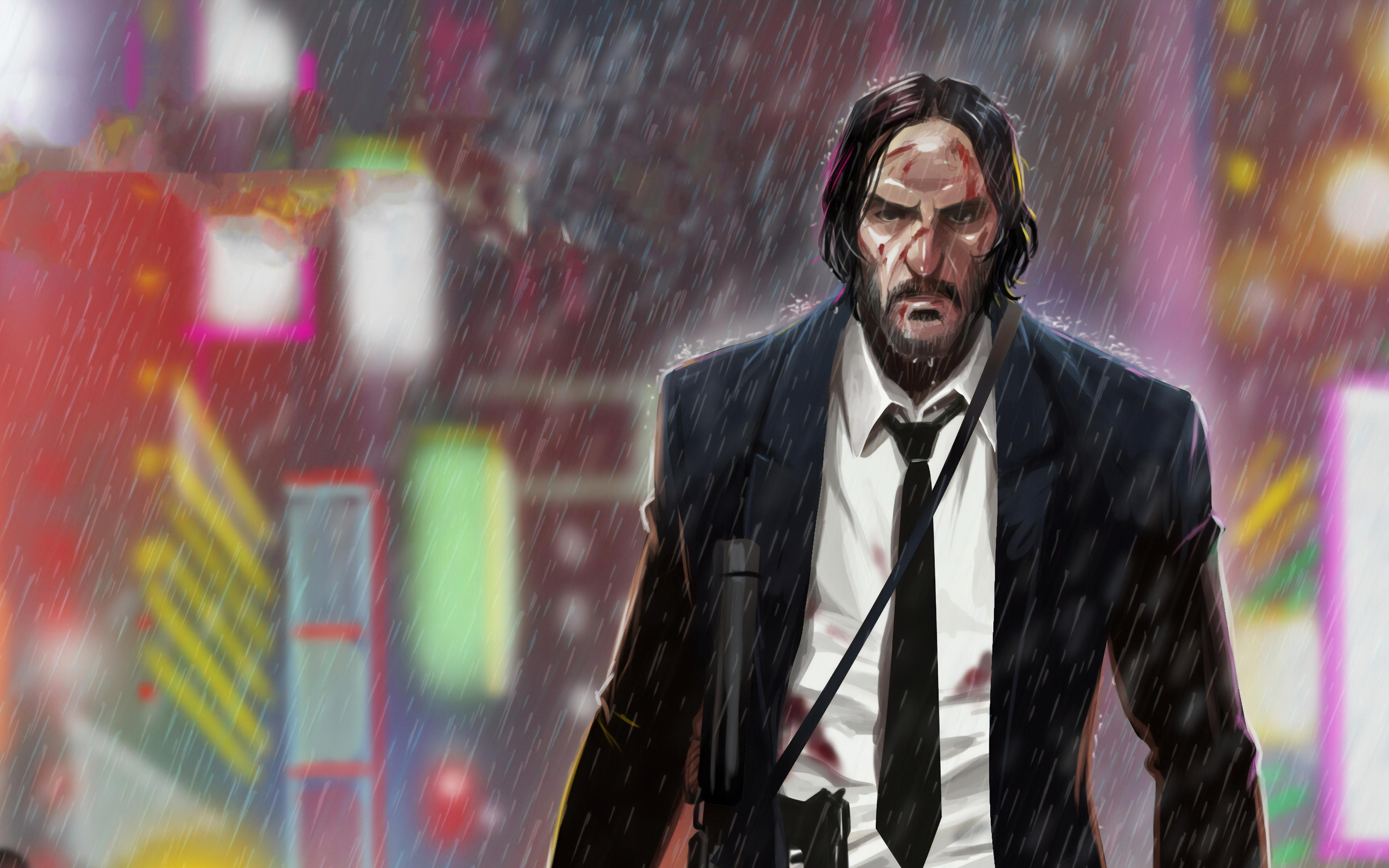 Wallpaper John Wick in the rain fanart