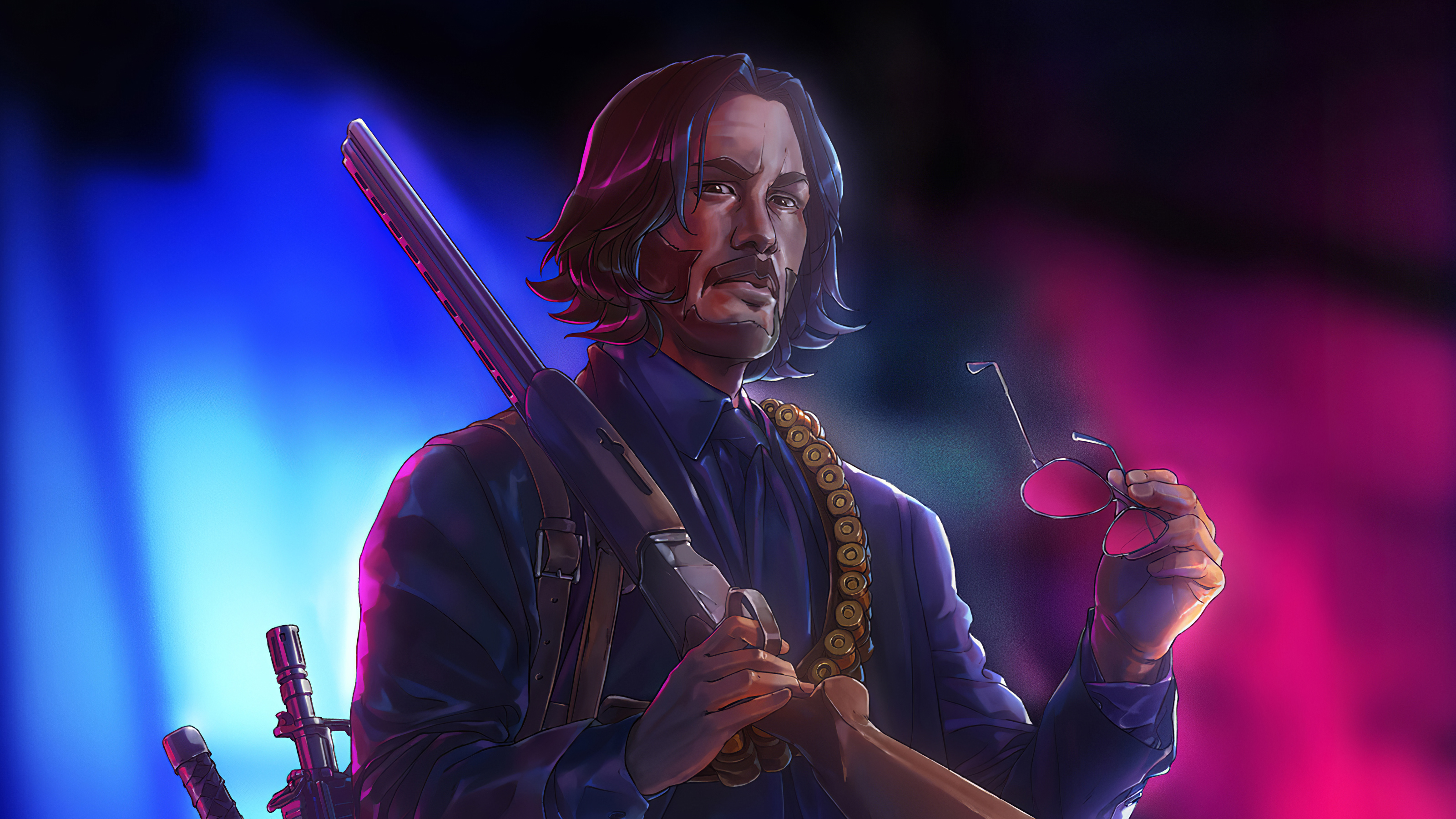 Wallpaper John Wick Illustration