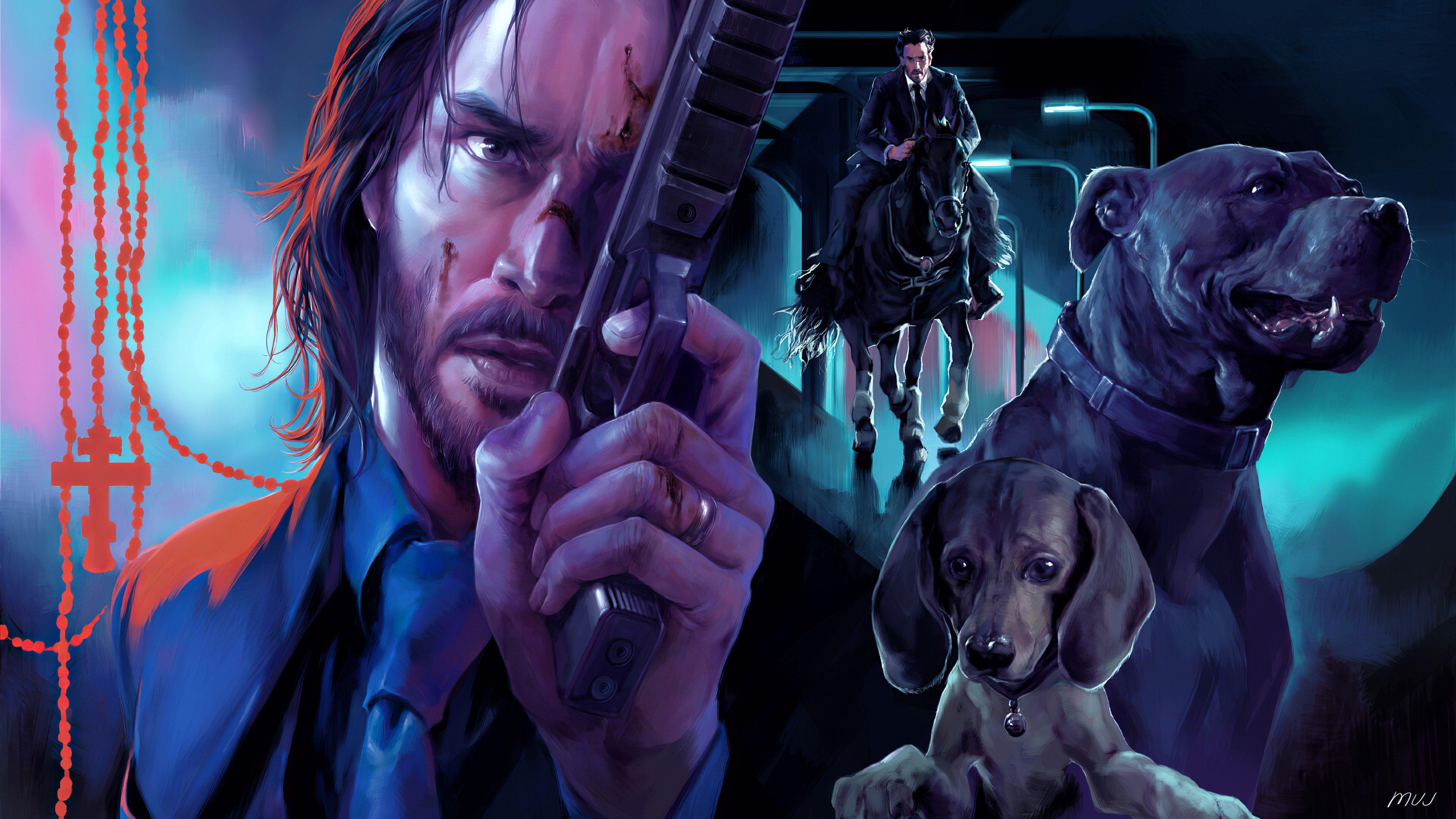 Fondos de pantalla John Wick y perros