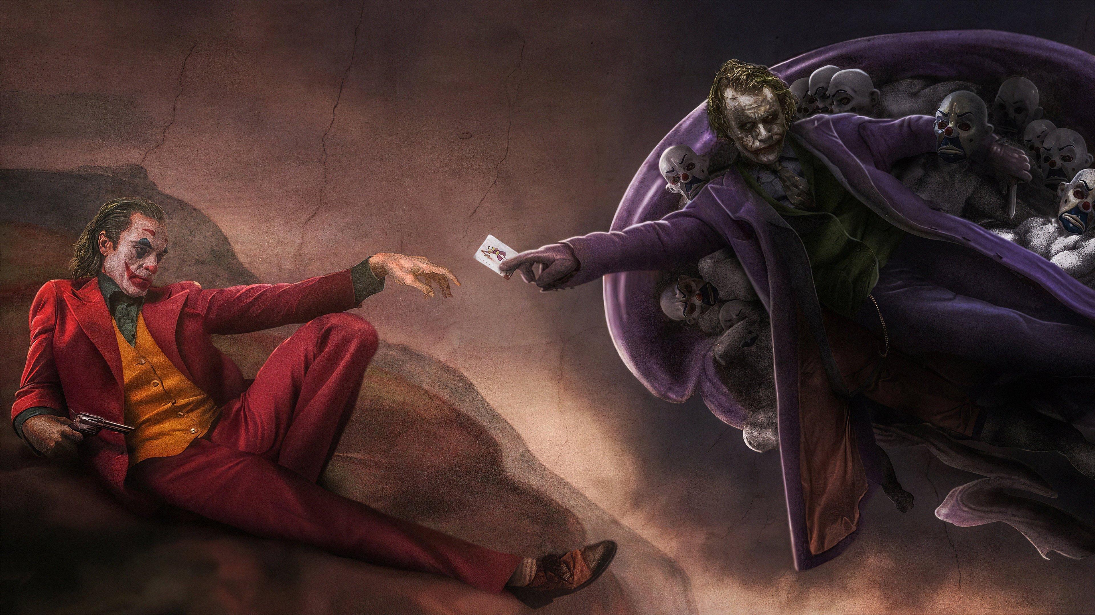 Joker As Joaquin Phoenix And Heath Ledger In Michelangelo