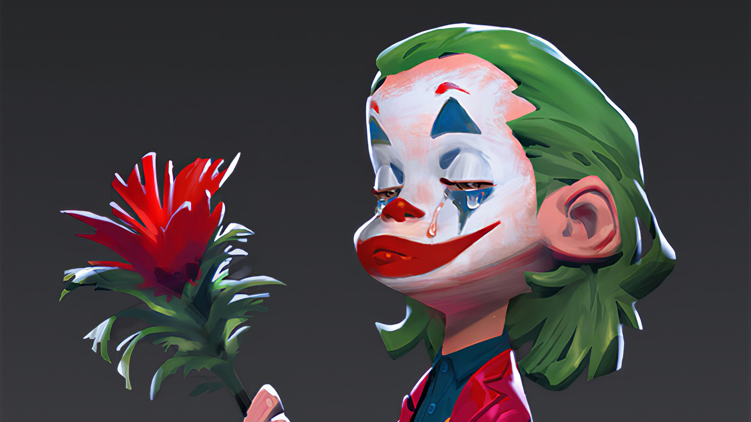 Wallpaper Joker with a rose