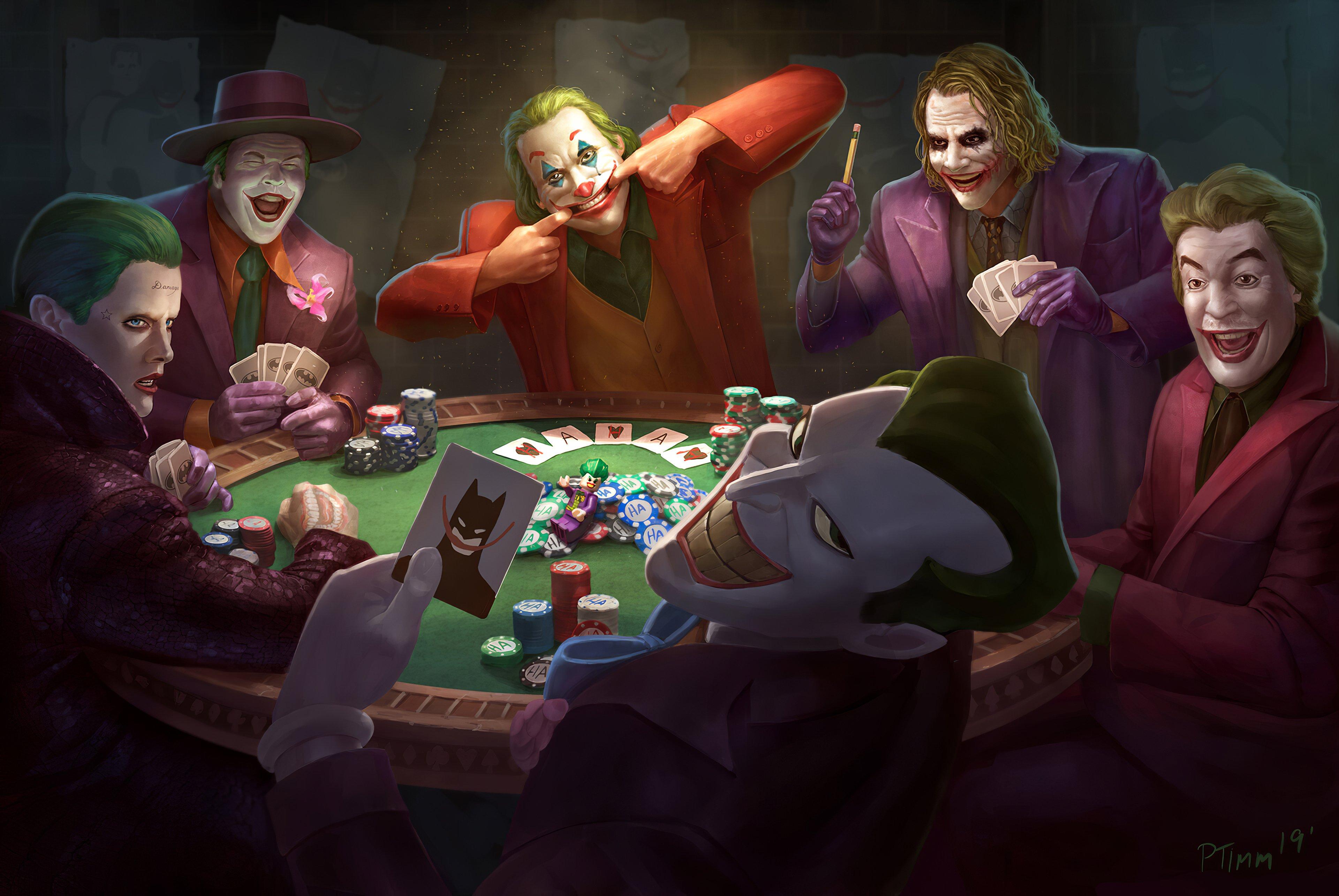 Jokers playing poker Wallpaper 4k Ultra HD ID:5158