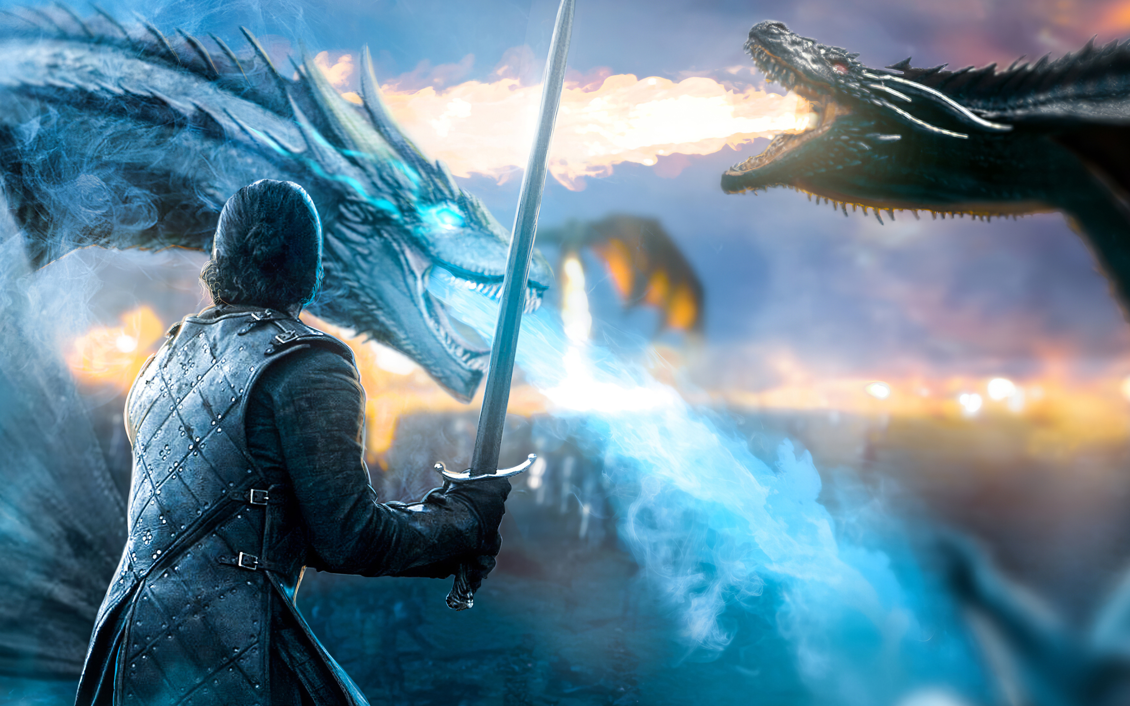 Wallpaper Jon Snow with dragon from Game of thrones