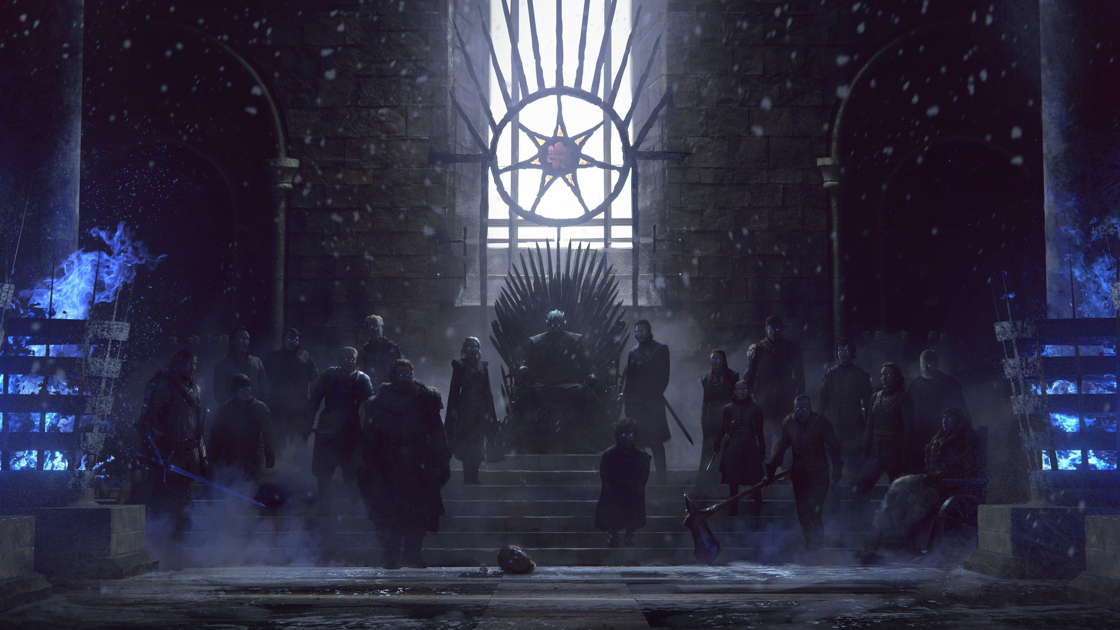 Fondos de pantalla Juego de tronos personajes en trono de hierro