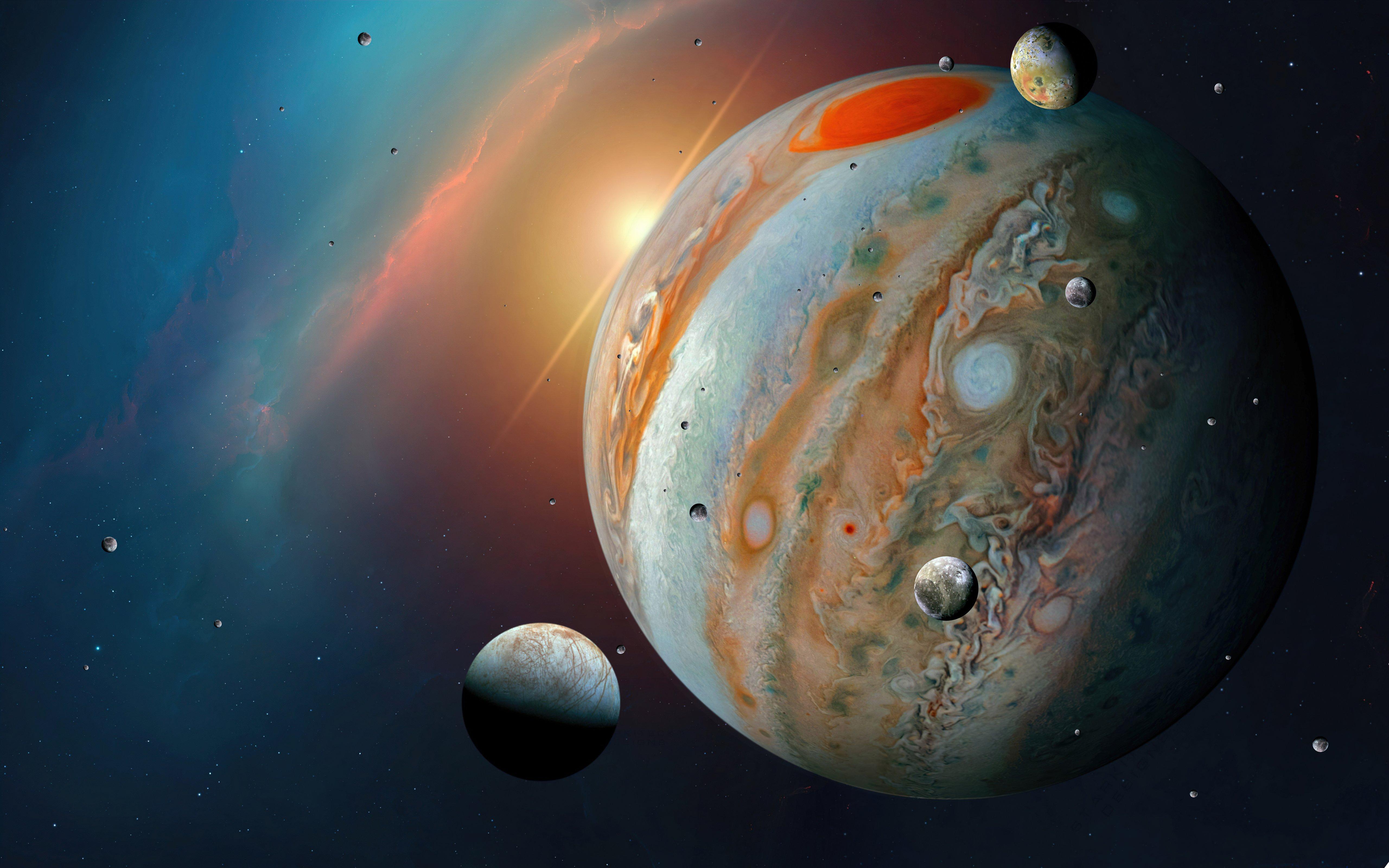 Wallpaper Jupiter and its moons