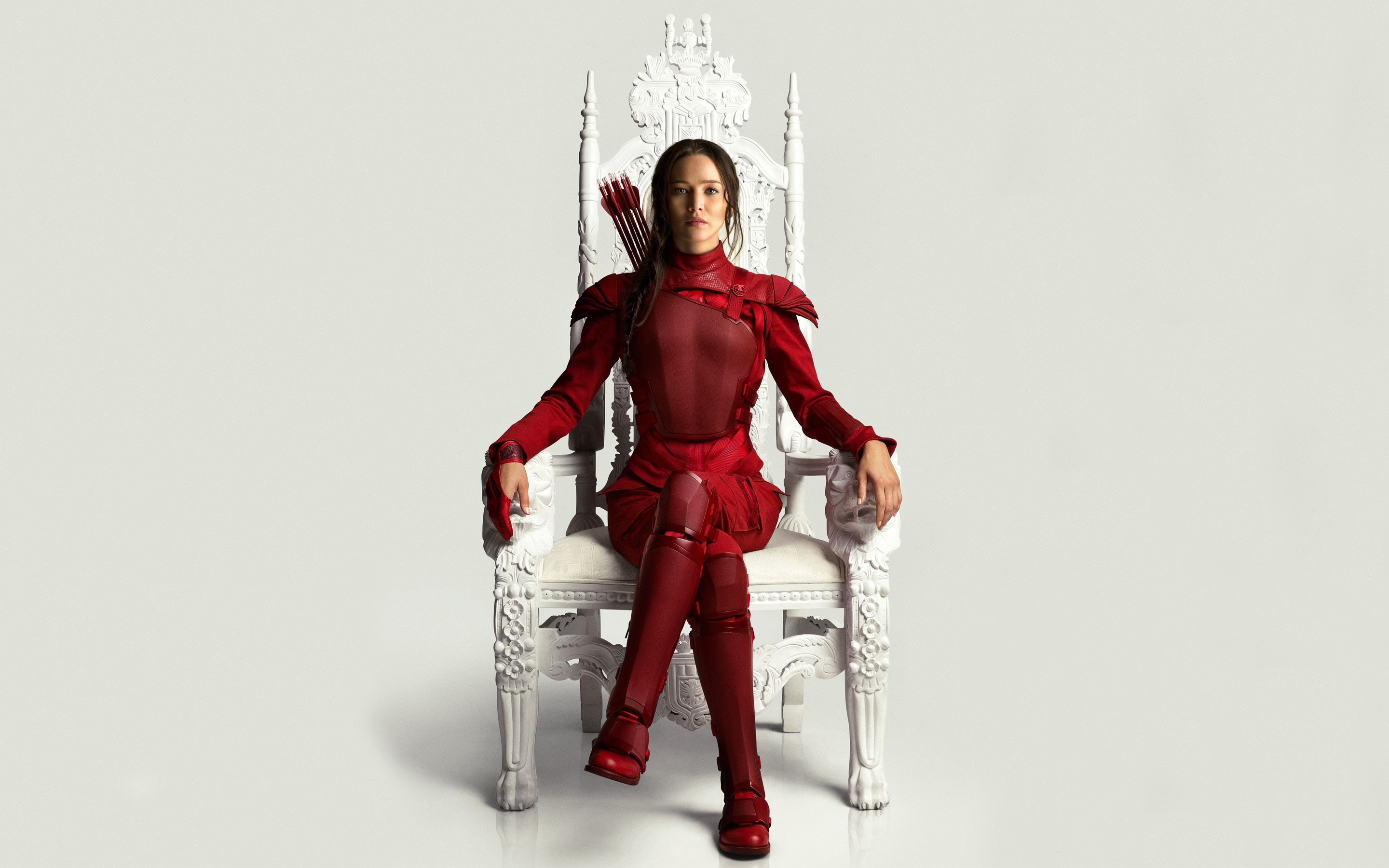 Wallpaper Katniss in her red suit
