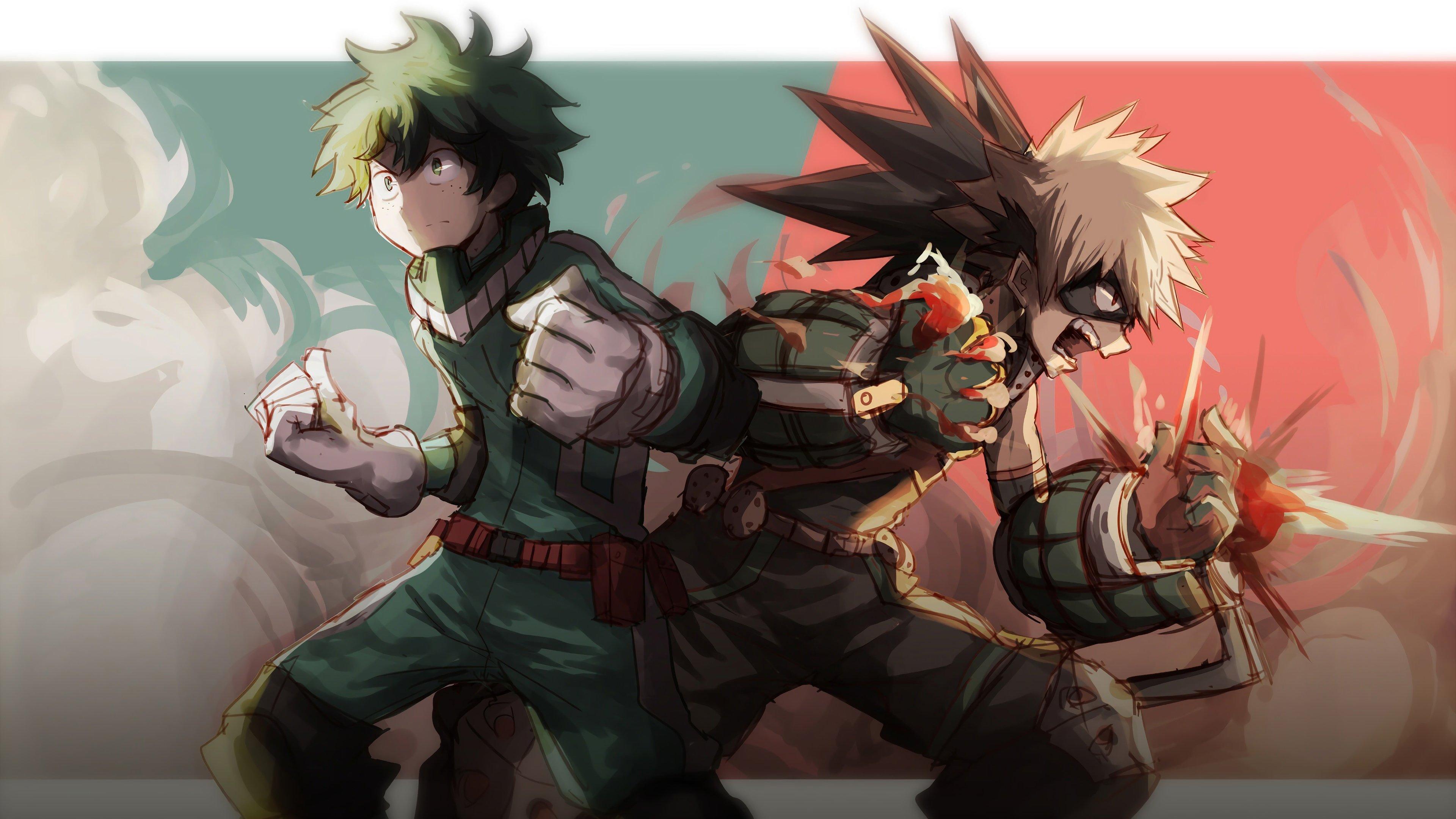 Fondos de pantalla Anime Katsuki Bakugou y Izuku Midoriya My Hero Academia