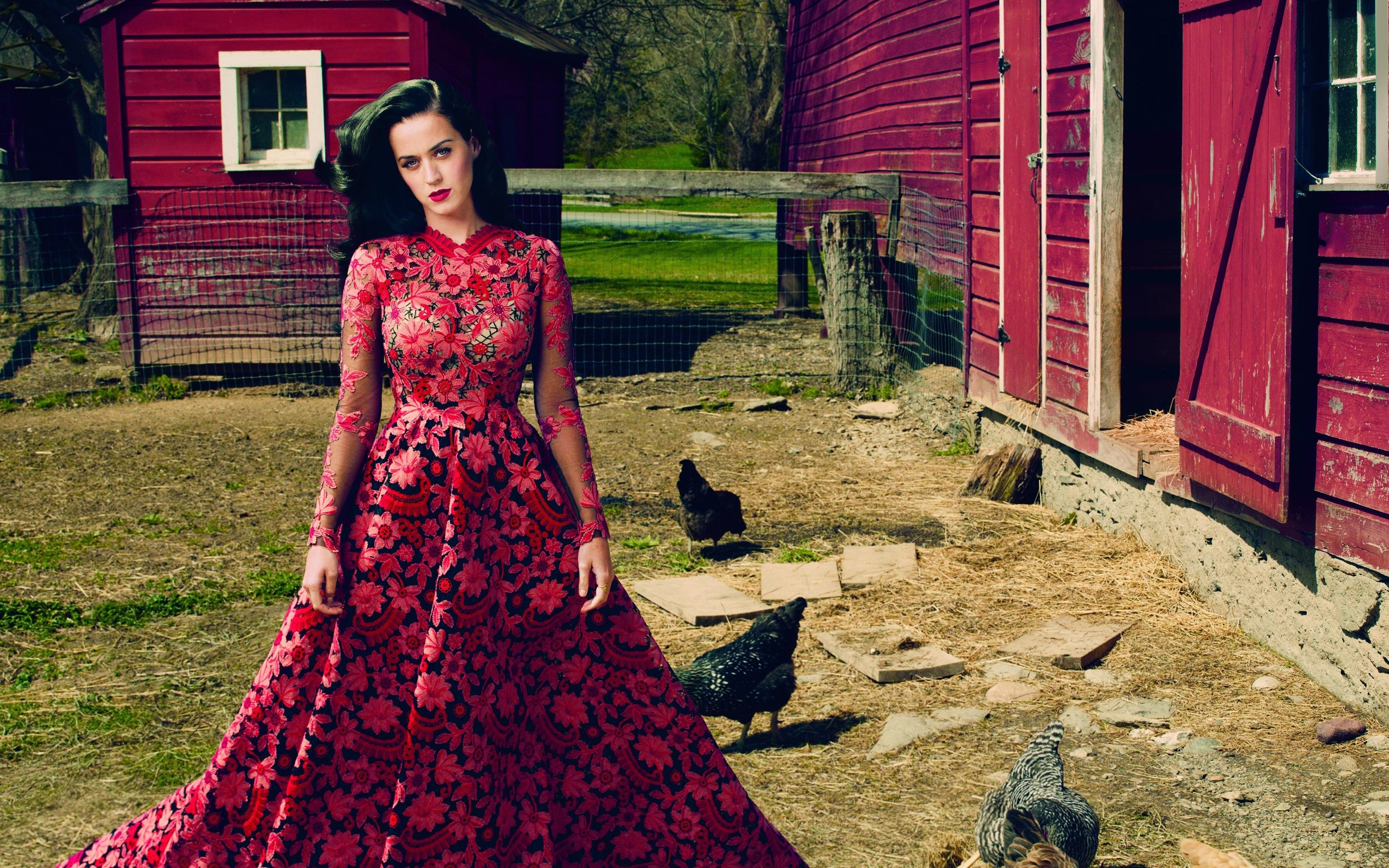 Wallpaper Katy Perry in a red dress