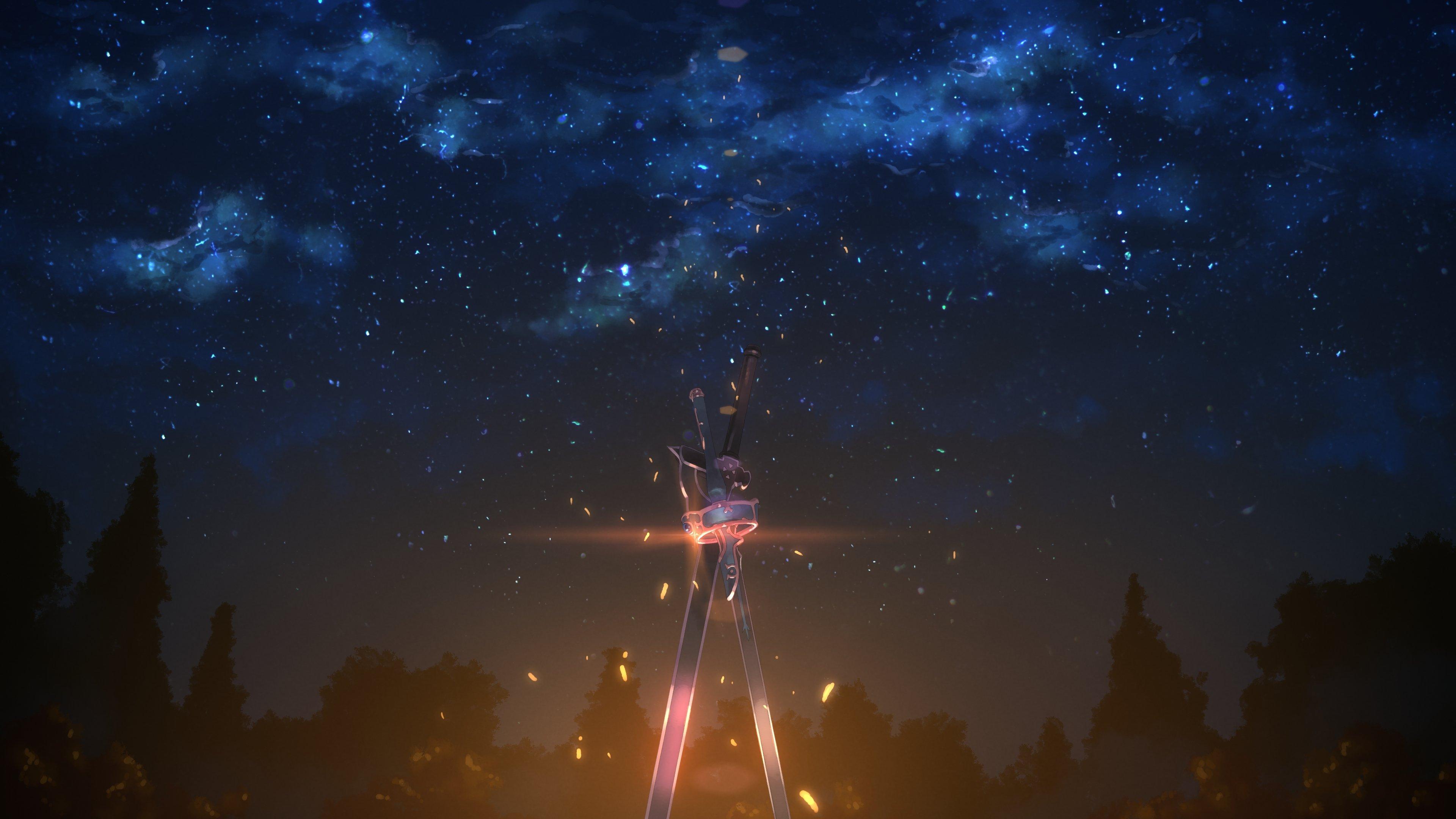 Wallpaper Kirito and Asuna's sword