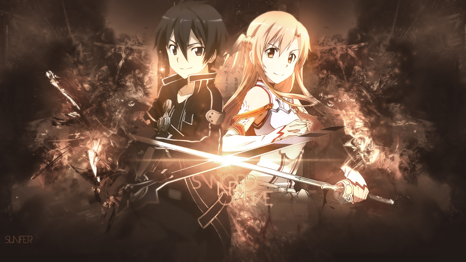 Fondos de pantalla Kirito y Asuna Sword Art Online