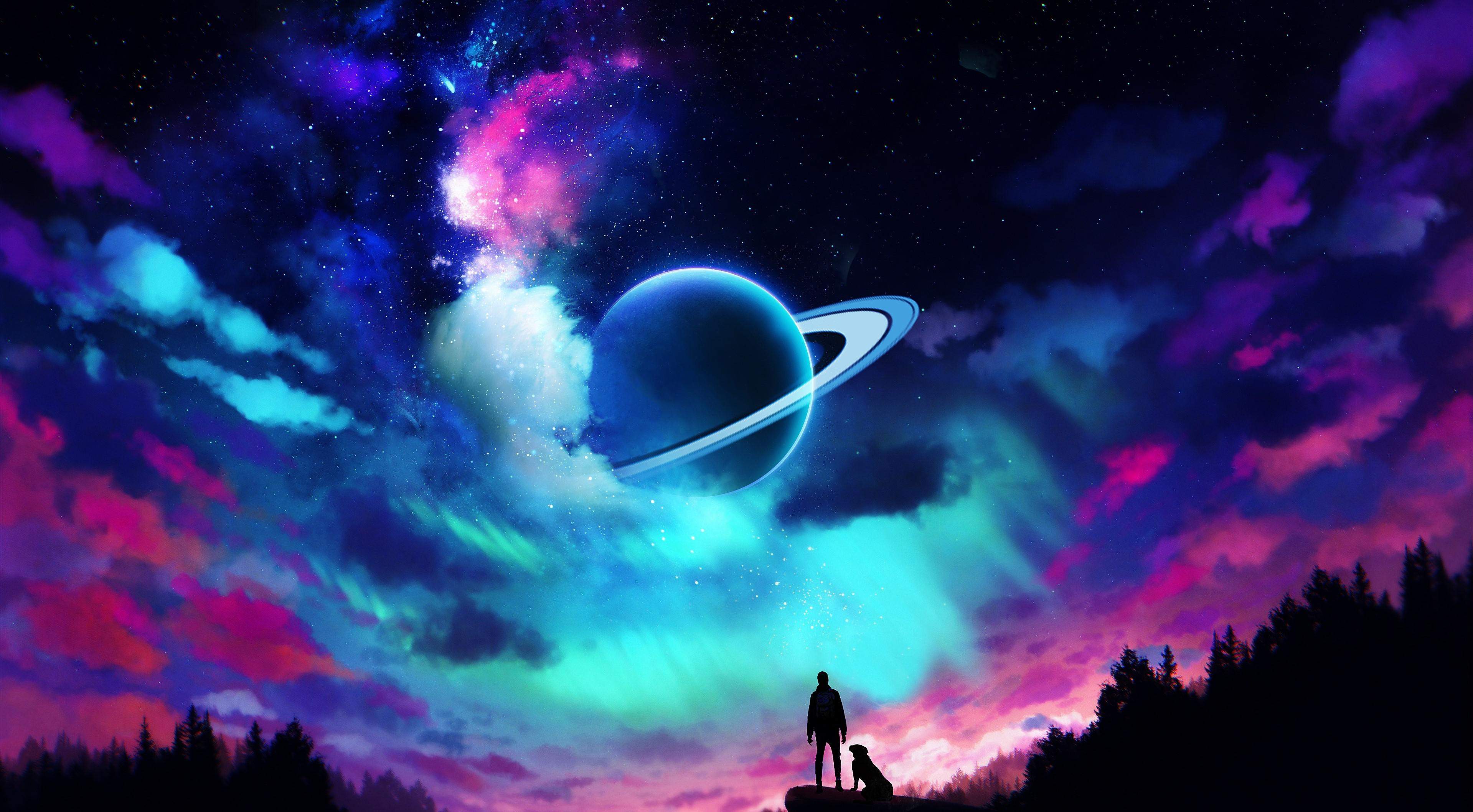 Wallpaper Aurora and planet in the Sky