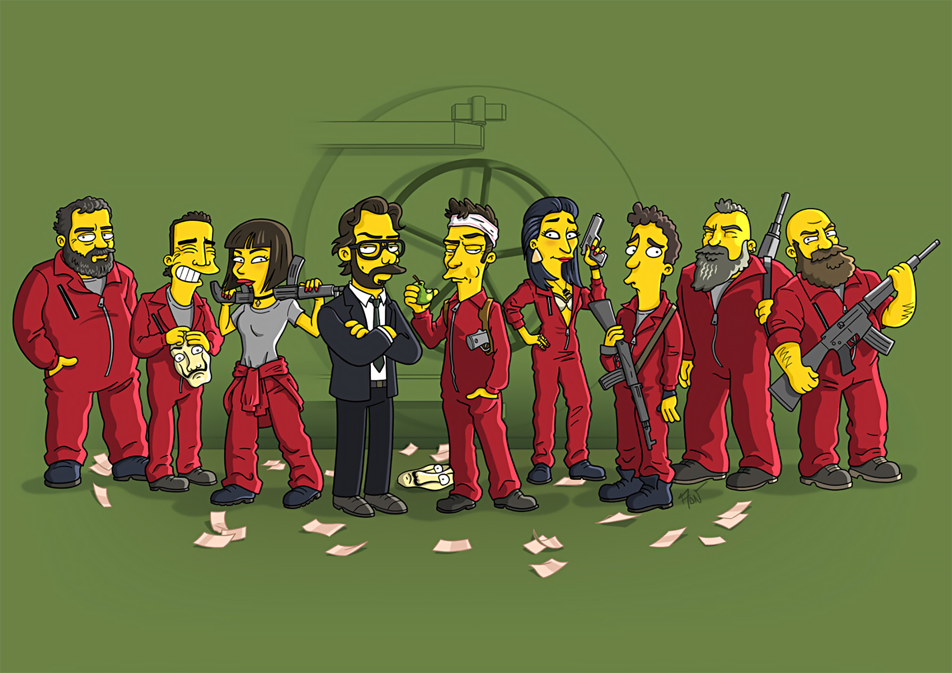 Money Heist Simpson Style Simpsonized Wallpaper Full Hd Id 3525
