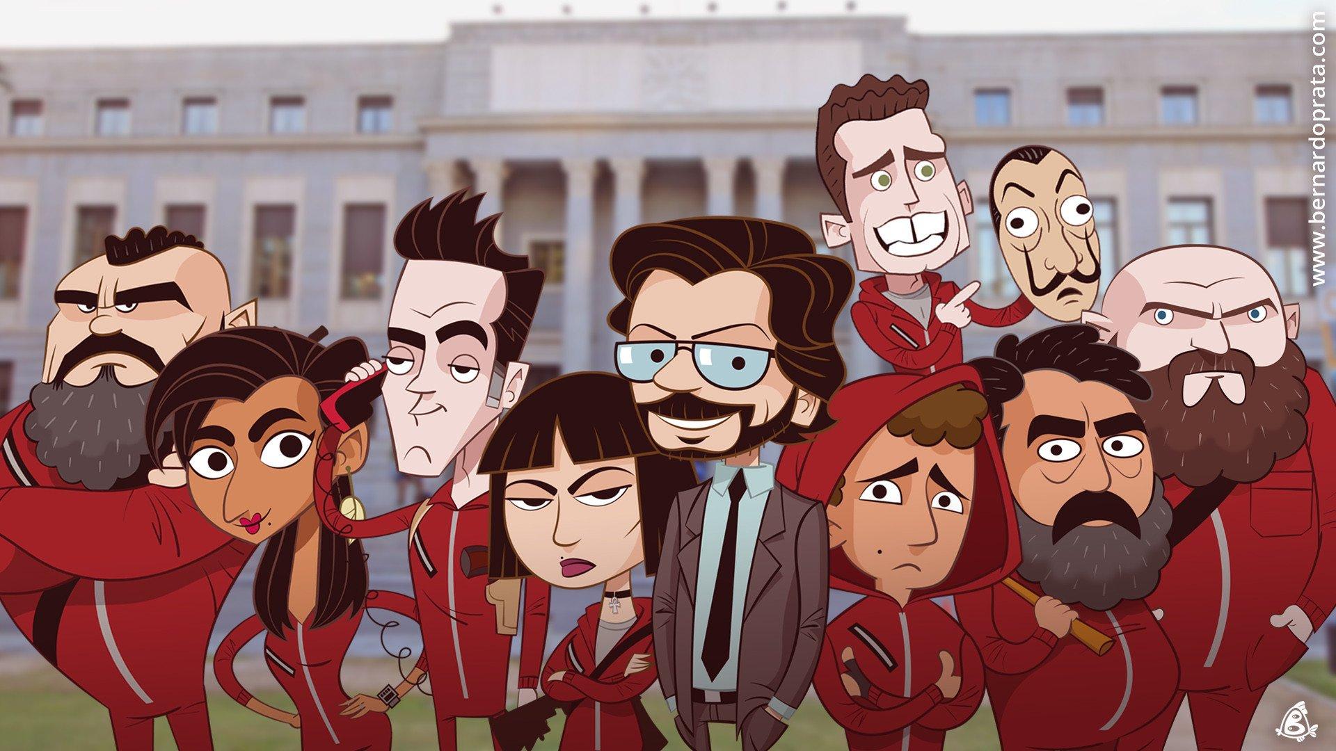 Fondos de pantalla La casa de papel versión caricatura
