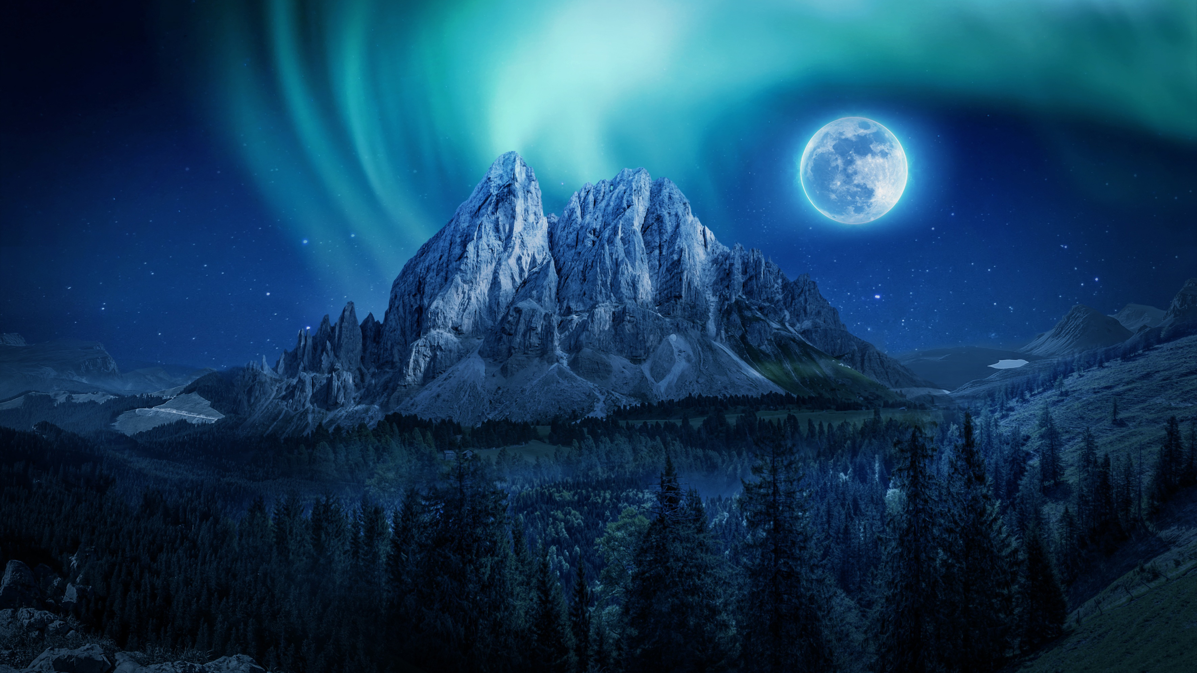 Wallpaper Moon in forest with mountains